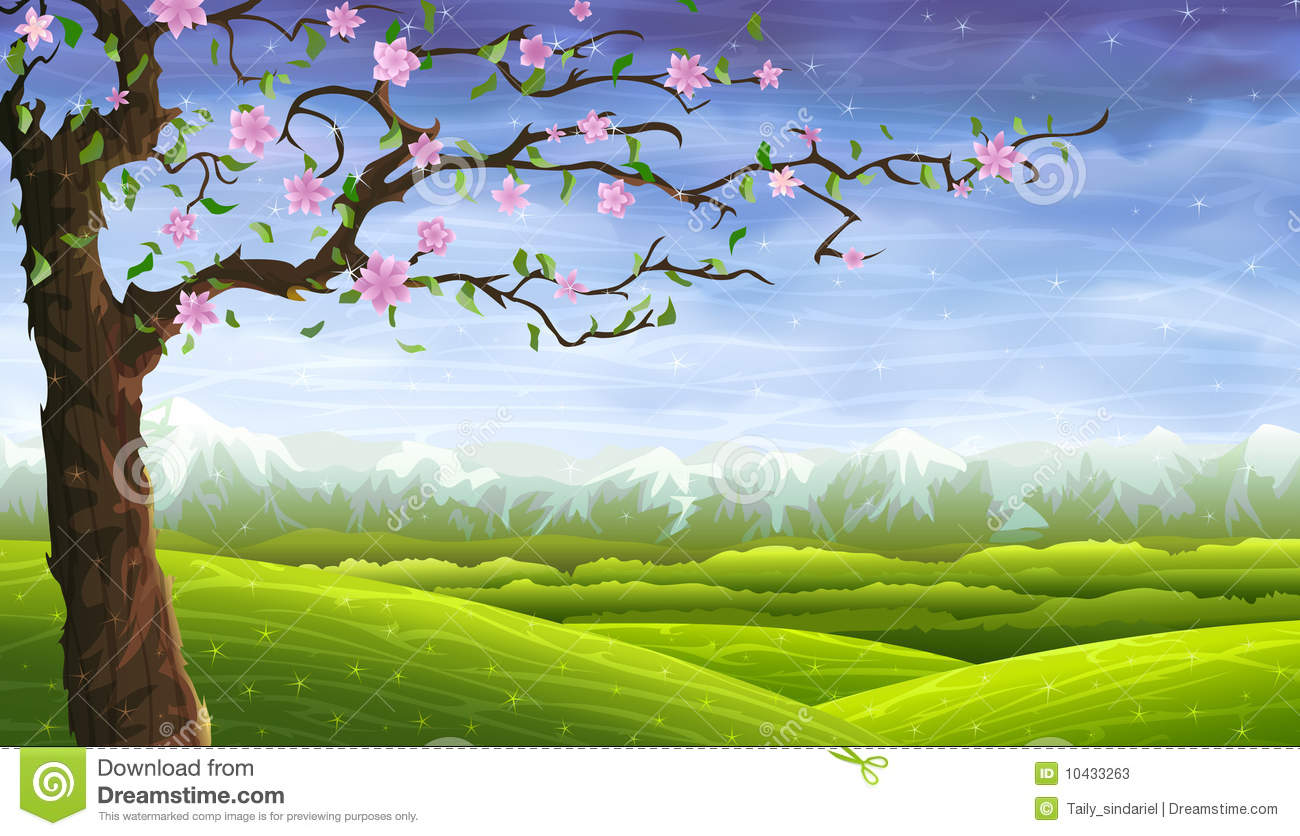 Fairy tale Rolling Landscape And A Blooming Tree Stock
