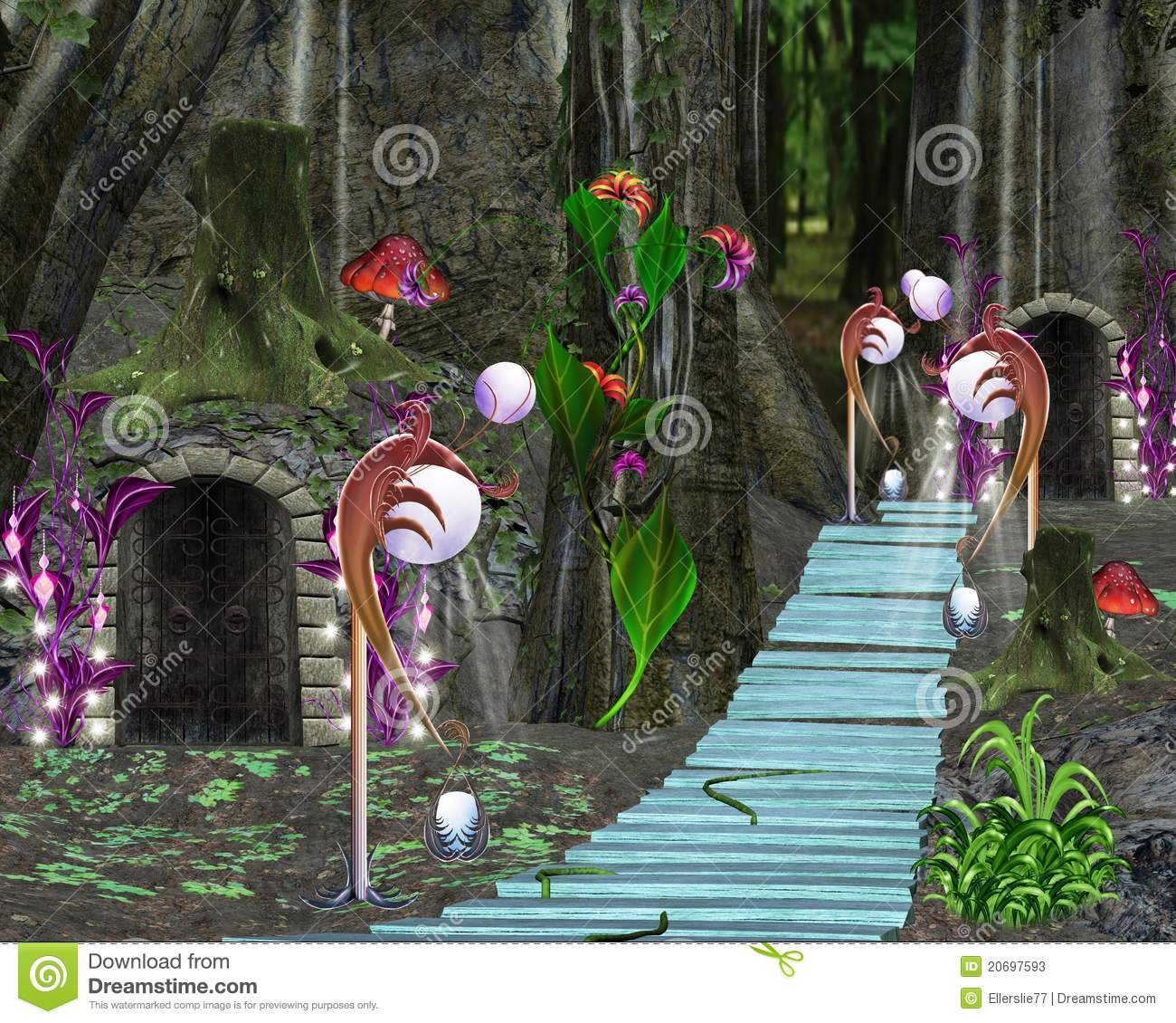 Fairy Tale Series Fantasy Forest And House Stock