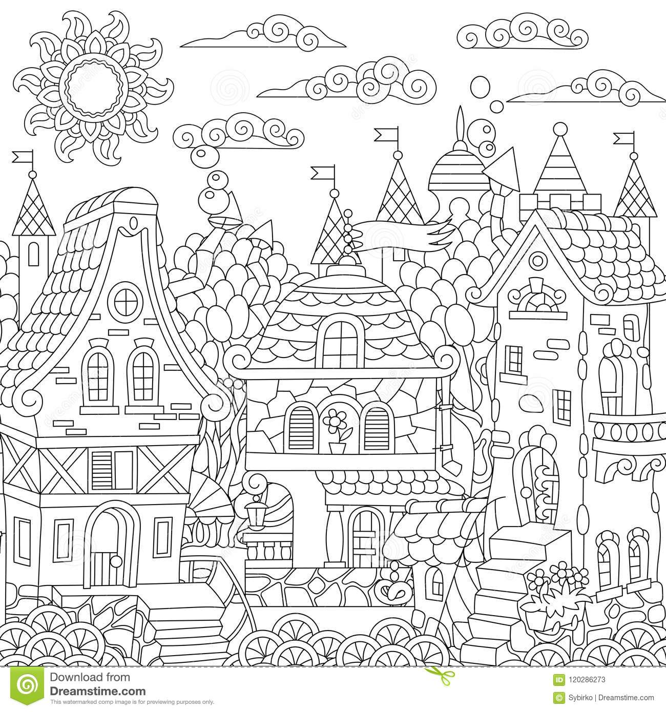 Zentangle fairy tale town stock vector. Illustration of ...