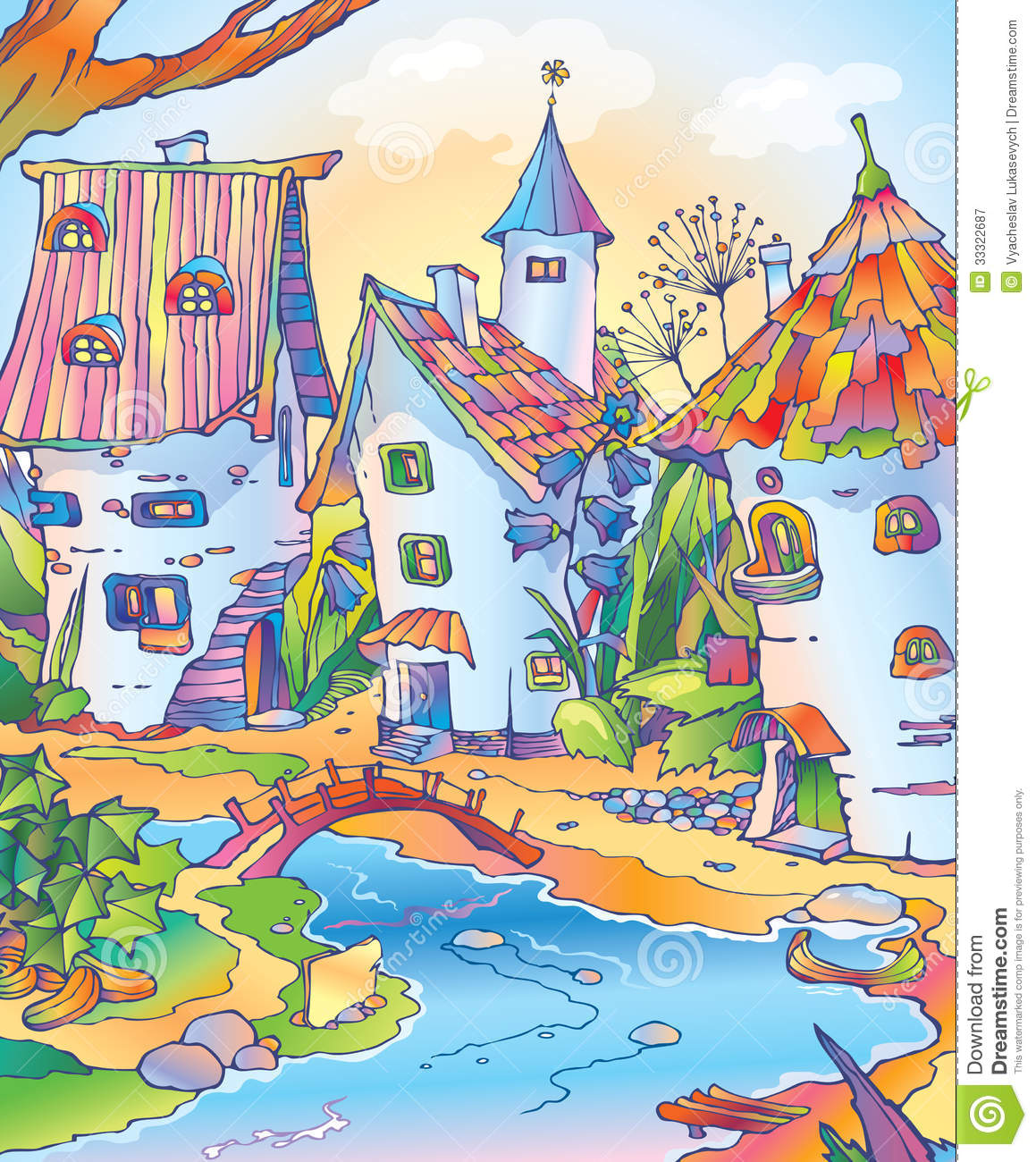 Fairy Tale Town Located Among Flowers Stock Illustration