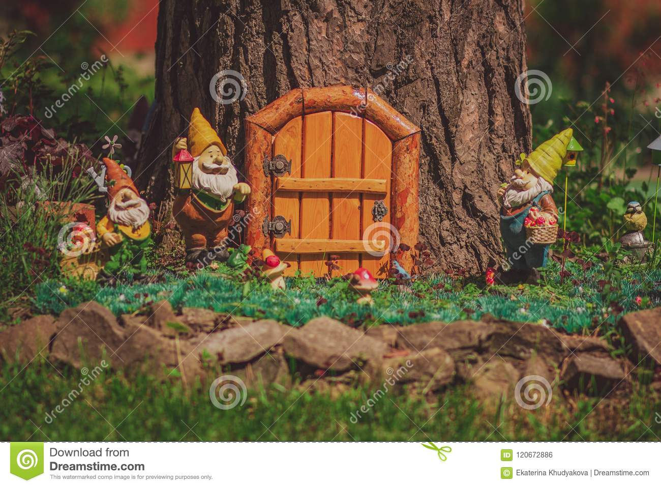 Fairy Tale Tree House, Cute Garden Gnome Stock Photo - Image of lawn ...