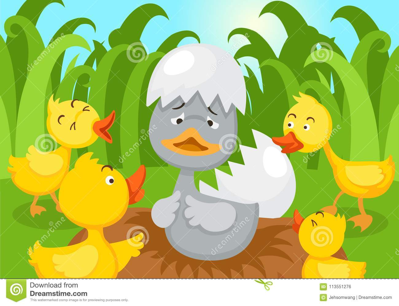 Fairy Tale Ugly Duckling Stock Vector Illustration Of Bath