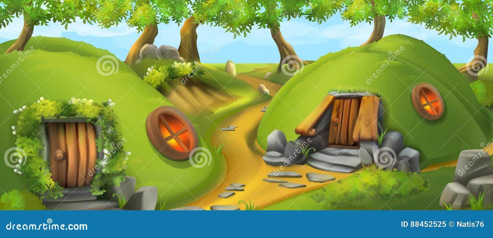 Fairy Tale Village. Leprechaun house. Landscape vector illustration