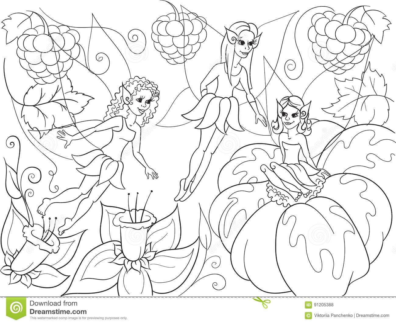 Fairy-tale World Of Fairies Coloring Book For Children Cartoon ...