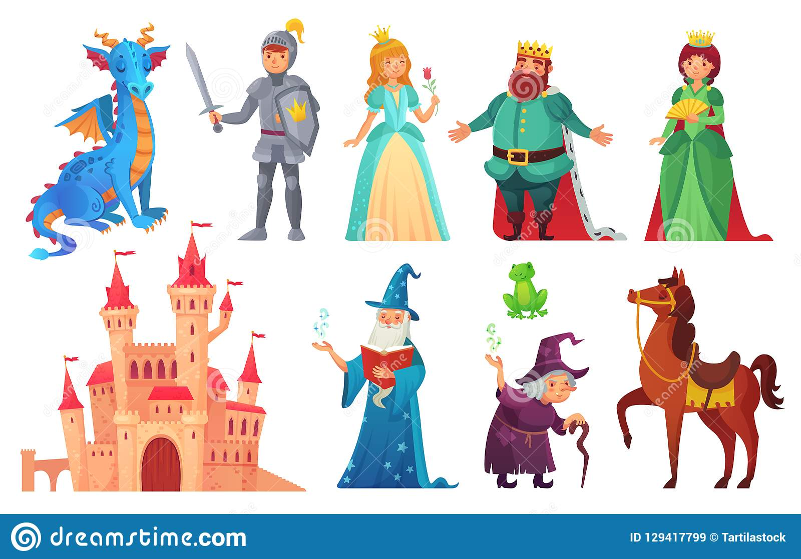Fairy tales characters. Fantasy knight and dragon, prince and princess, magic world queen and king isolated cartoon