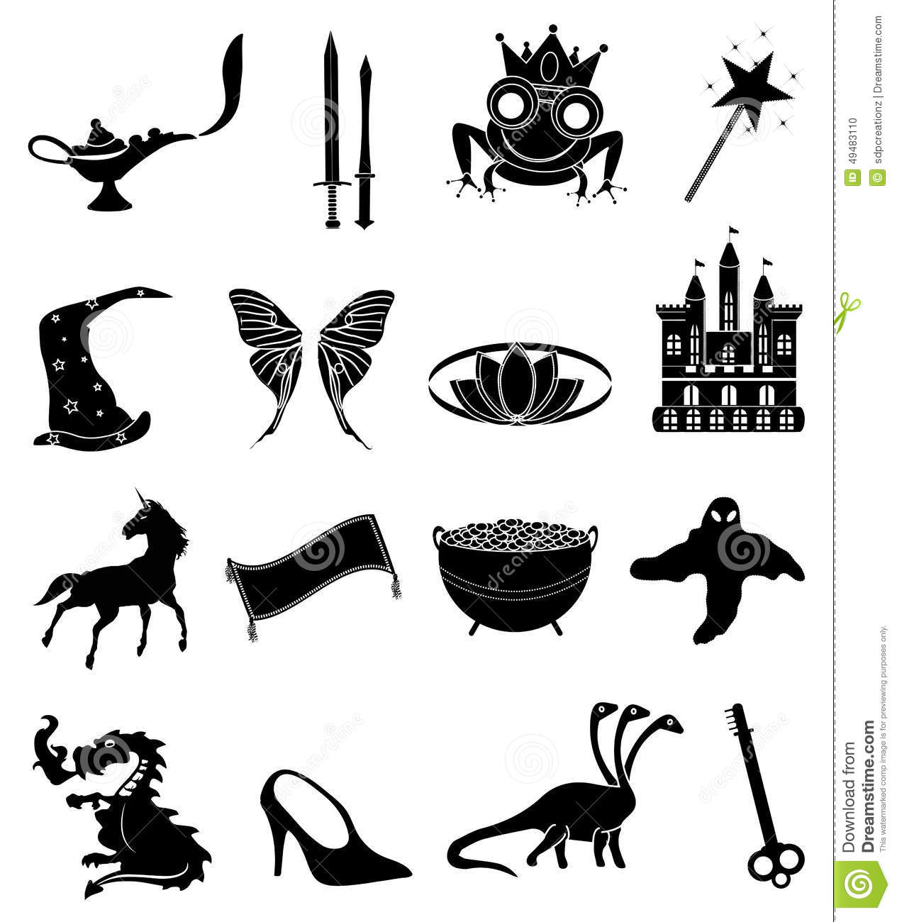 Fairy Tales Icons Set Stock Vector