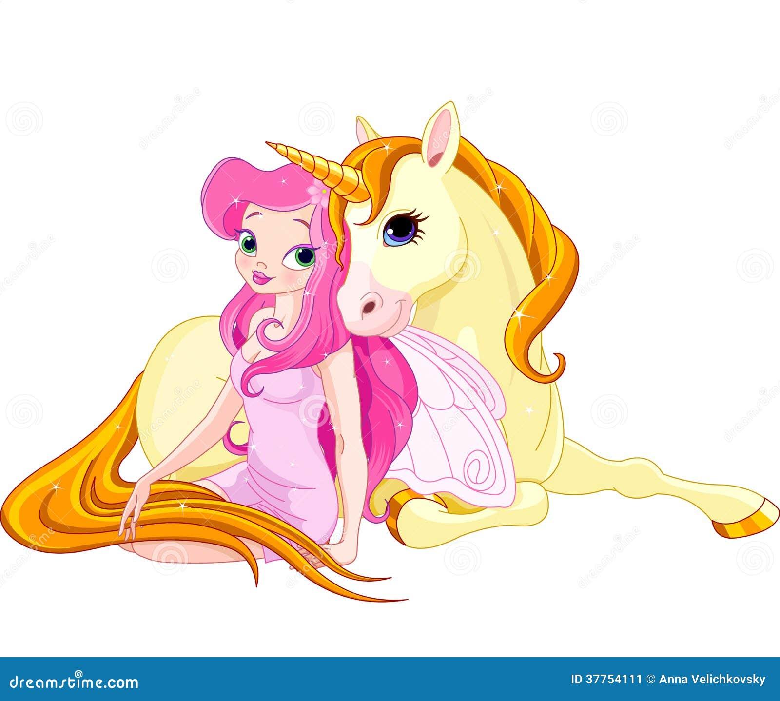 fairy and unicorn stock image image 37754111