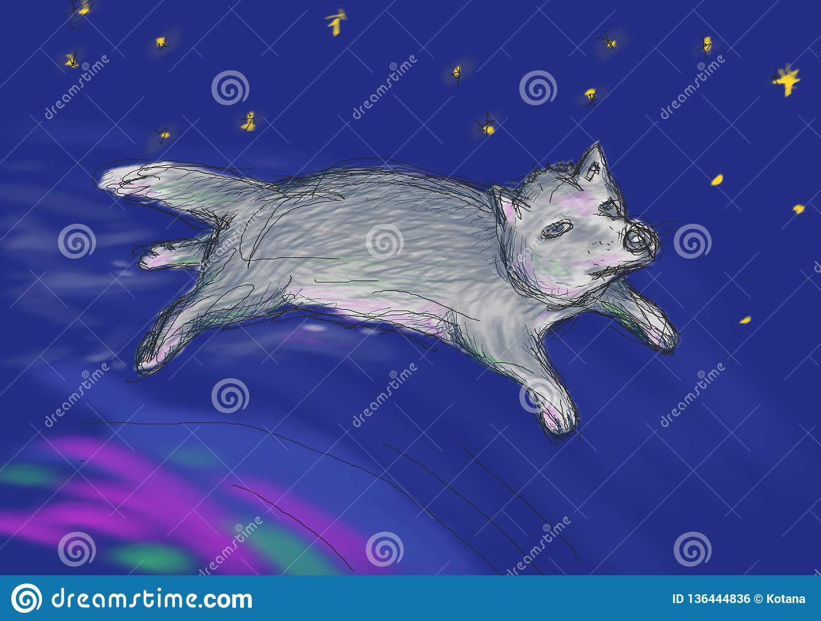 Fairy wolf flying over the northern lights in space. Illustration for children`s book, metaphorical cards, oriental horoscope