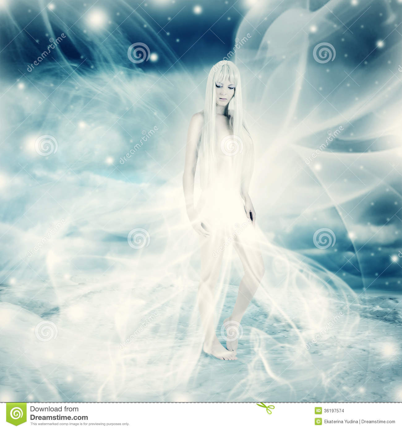 Fairy Woman On Snow Winter Background Stock Images - Image ...