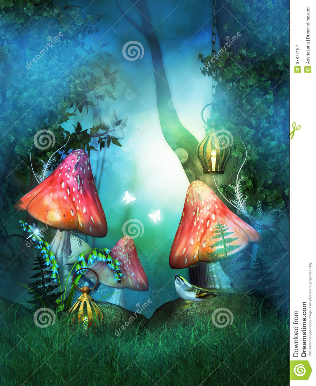 Fairy Wood With Big Red Mushrooms Stock Photography - Image: 37873192