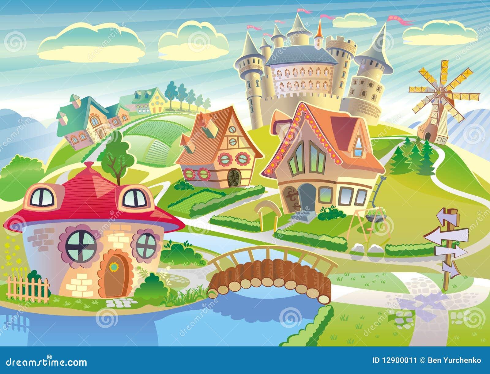 Fairyland with castle, windmill and littler cute village in a cartoon ... Fairyland