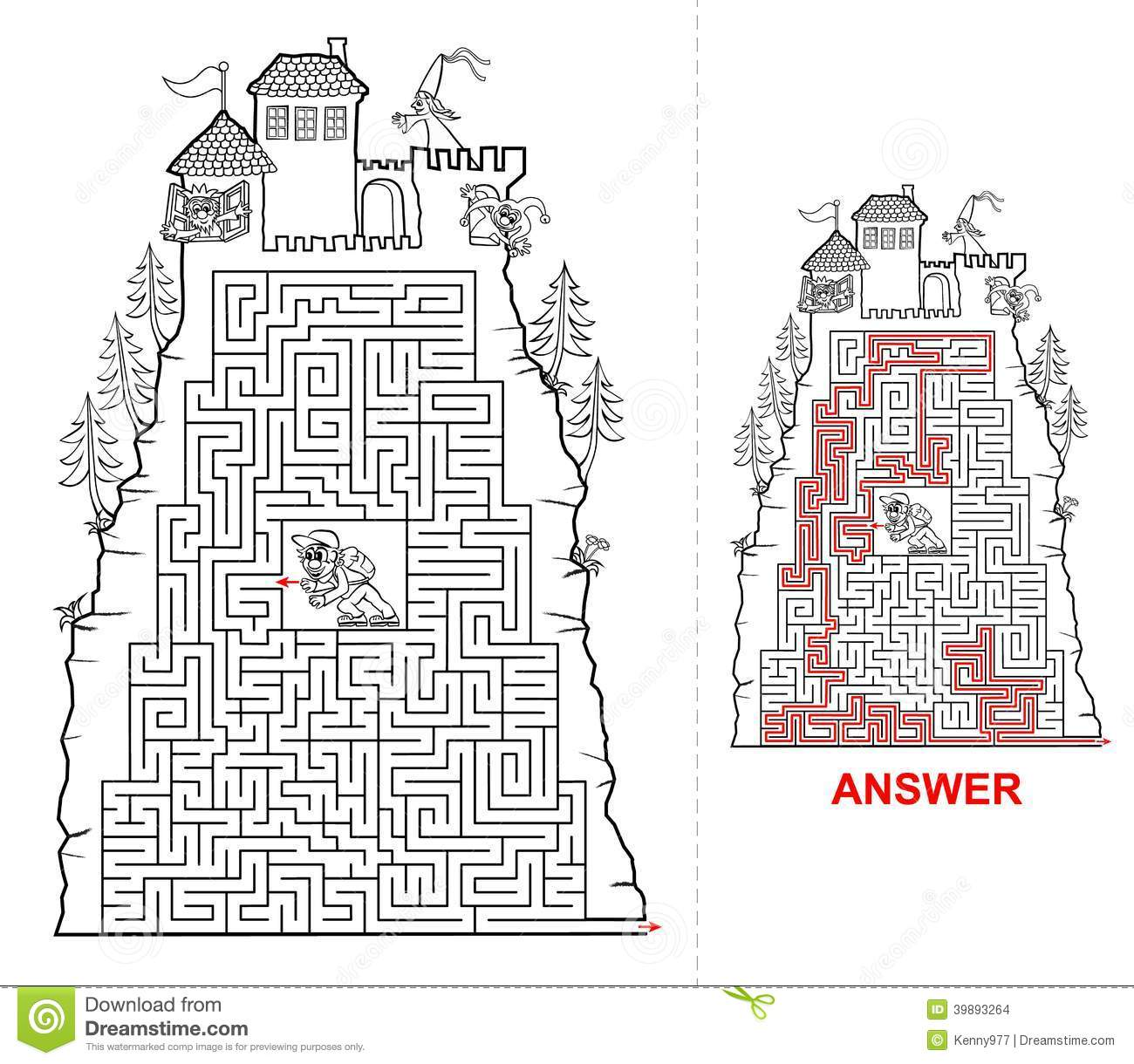 Fairytail Castle Maze For Kids In Black And White Stock Vector - Image ...