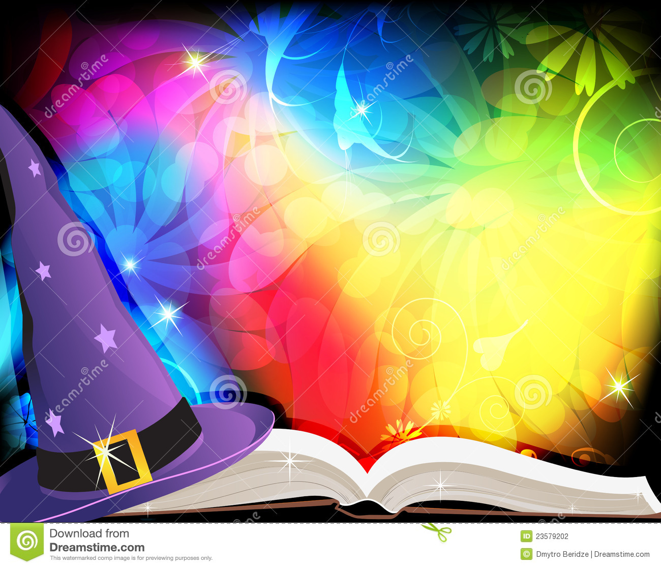 Witch hat and spell book on an abstract fairytale background.