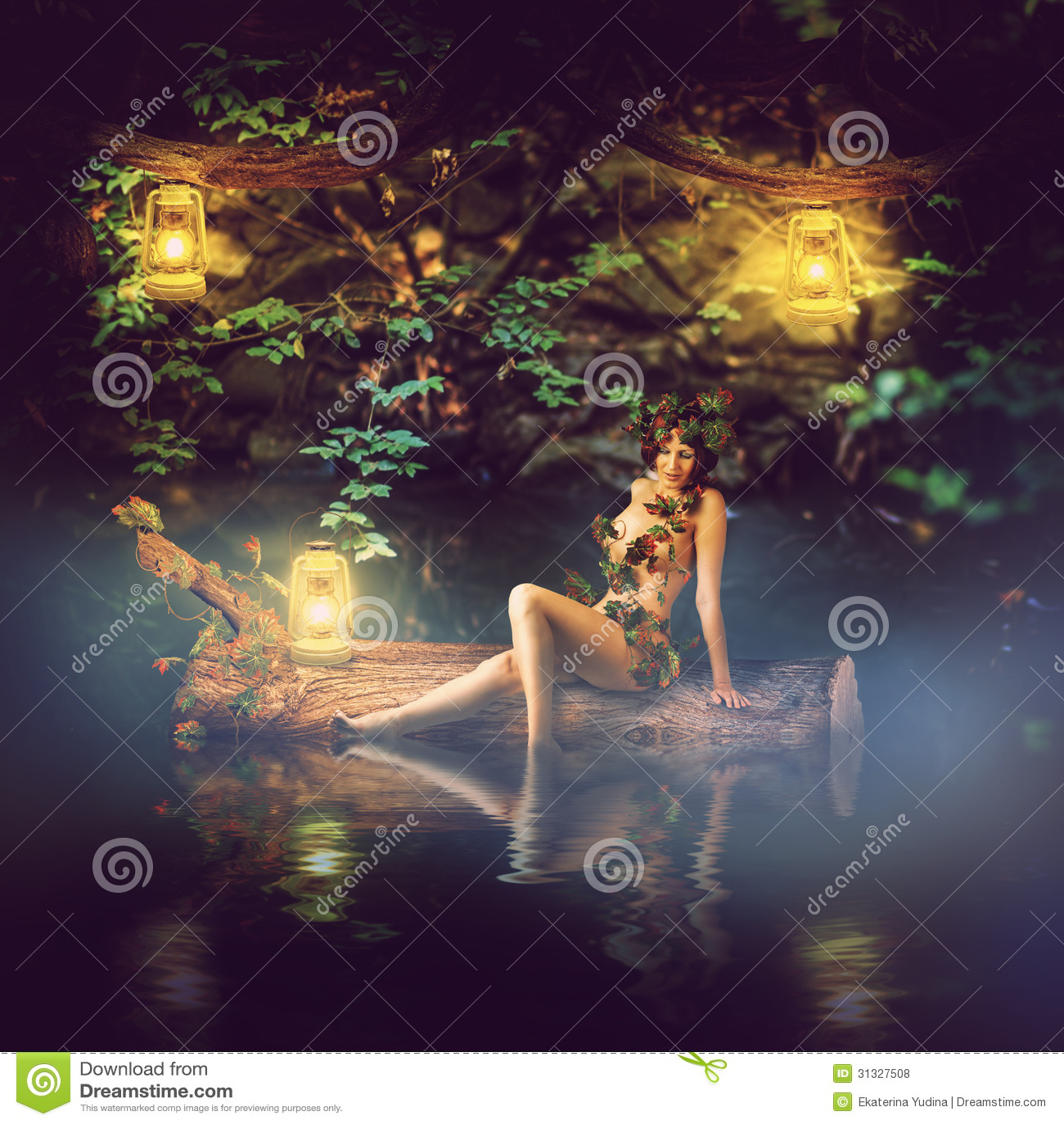 Fairytale Beautiful Woman Wood Nymph Royalty Free Stock