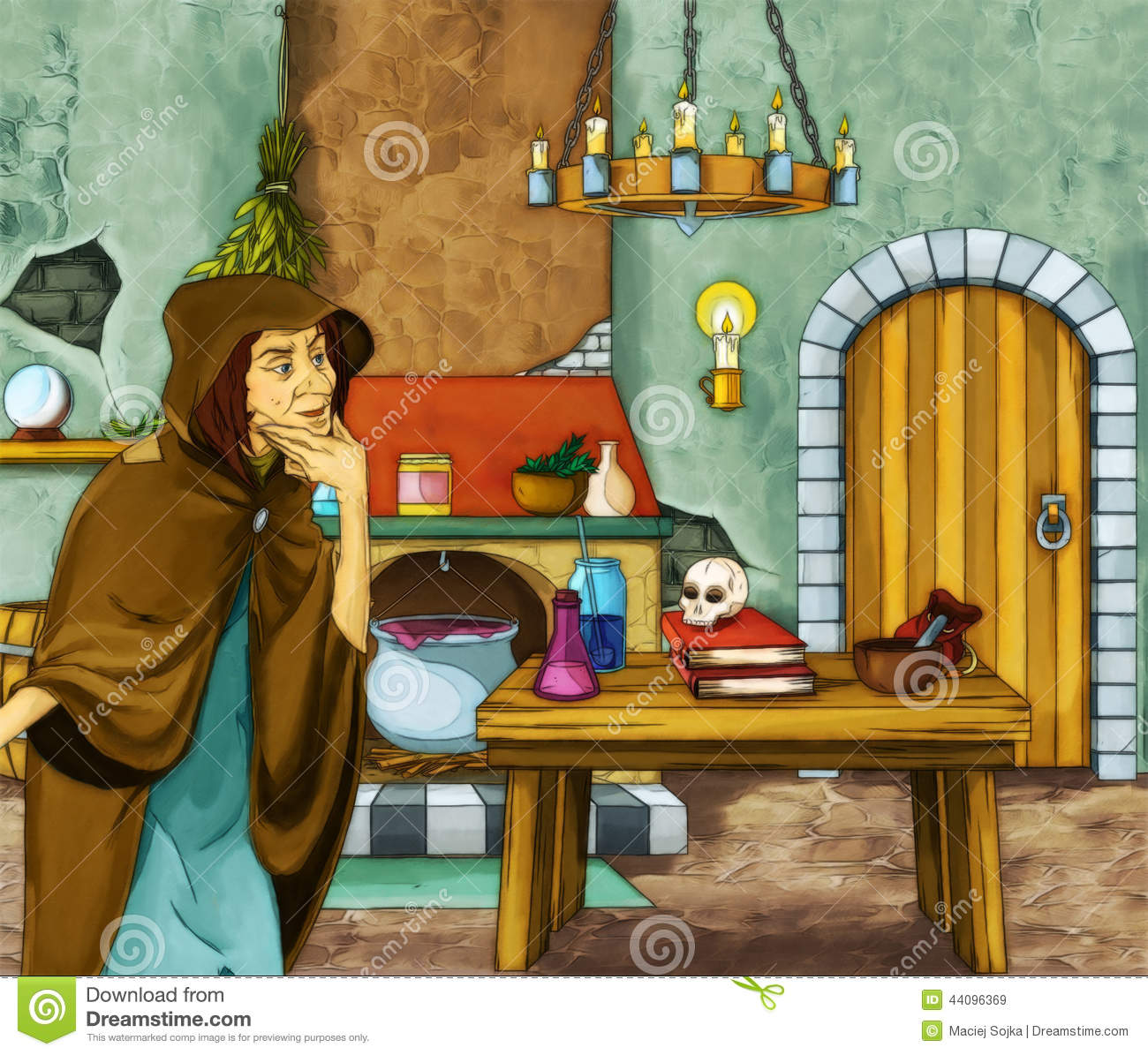 Fairytale Cartoon Character - Old Witch In The Old Room ...