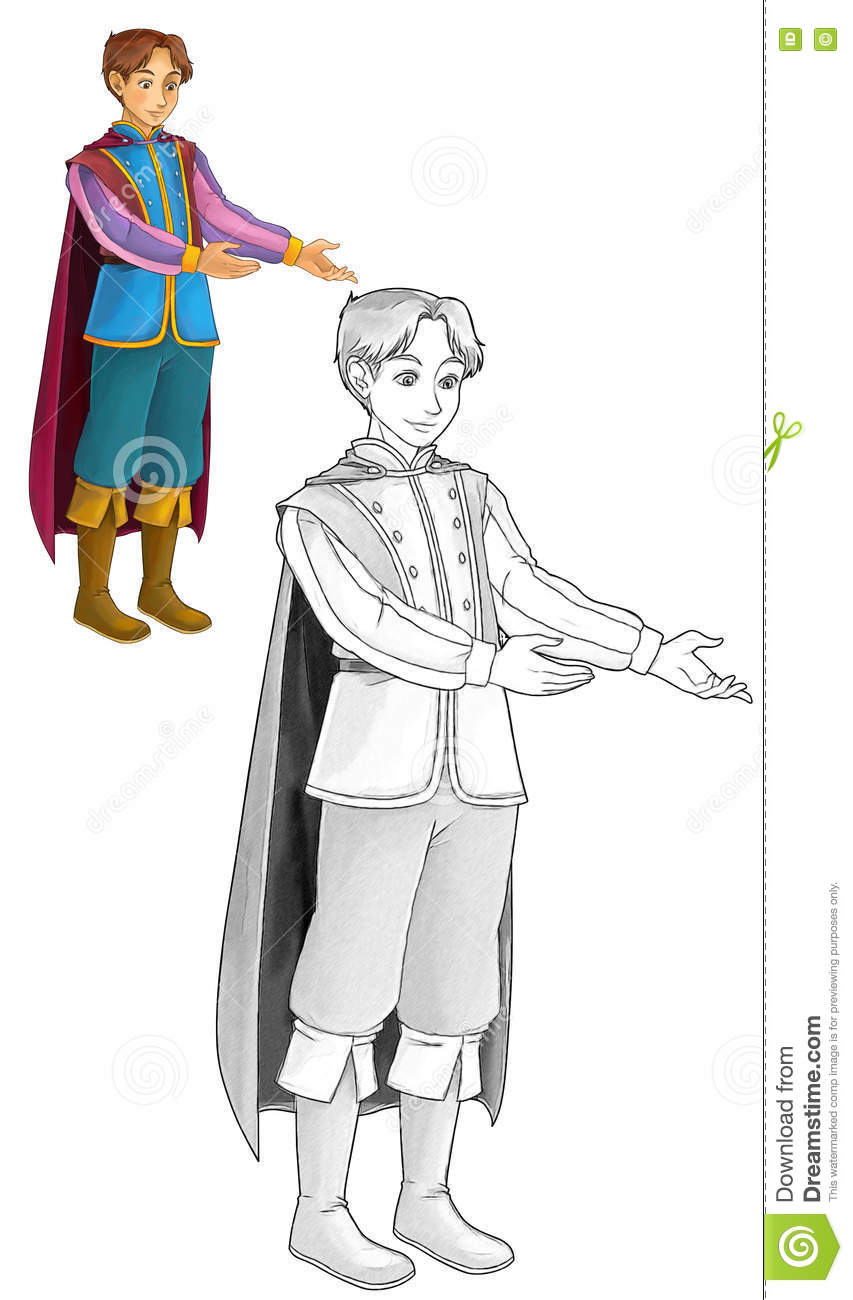 fairytale cartoon character prince coloring page stock