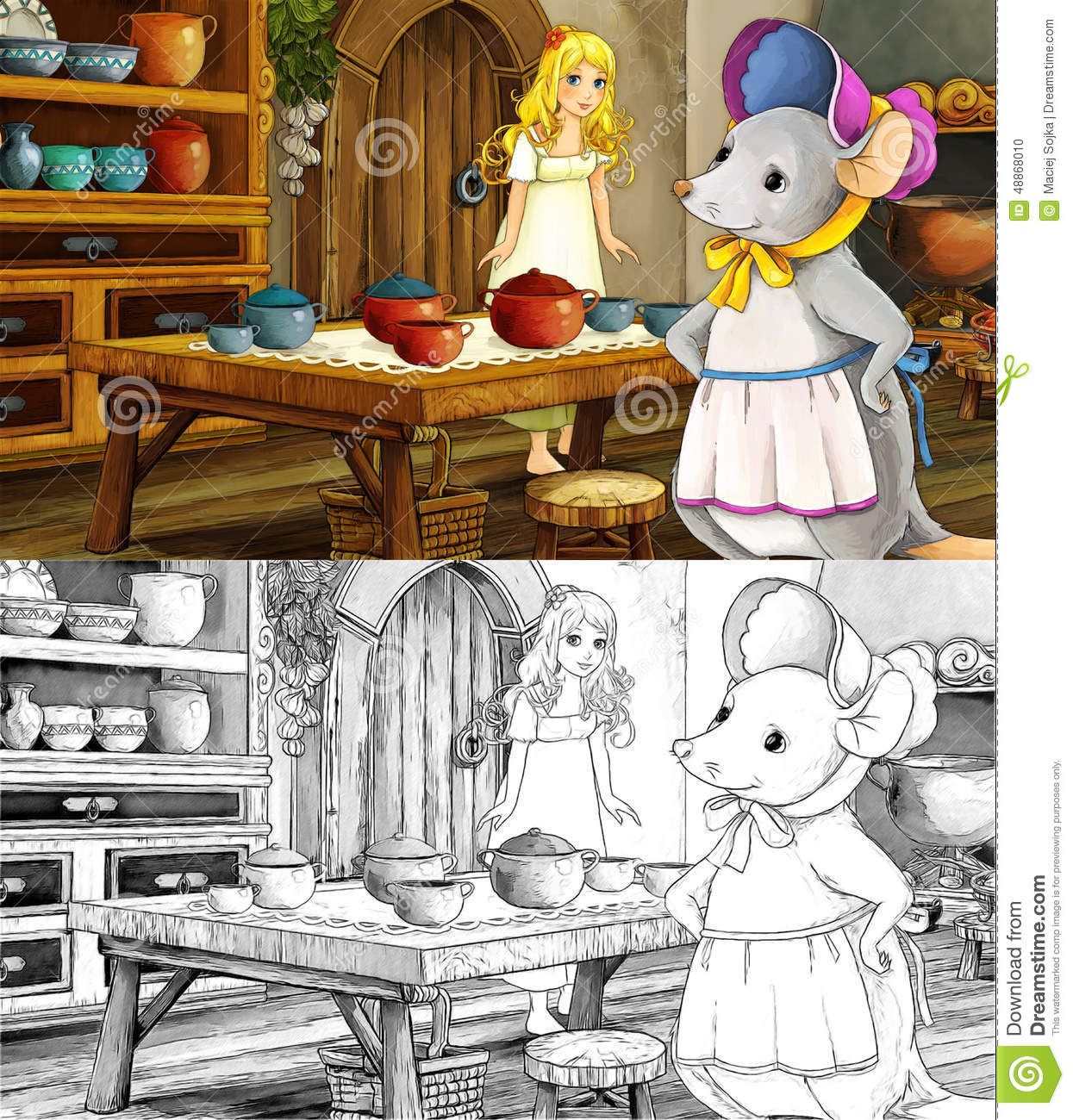 Fairytale Cartoon Scene With A Girl In The Kitchen With A Mouse ...