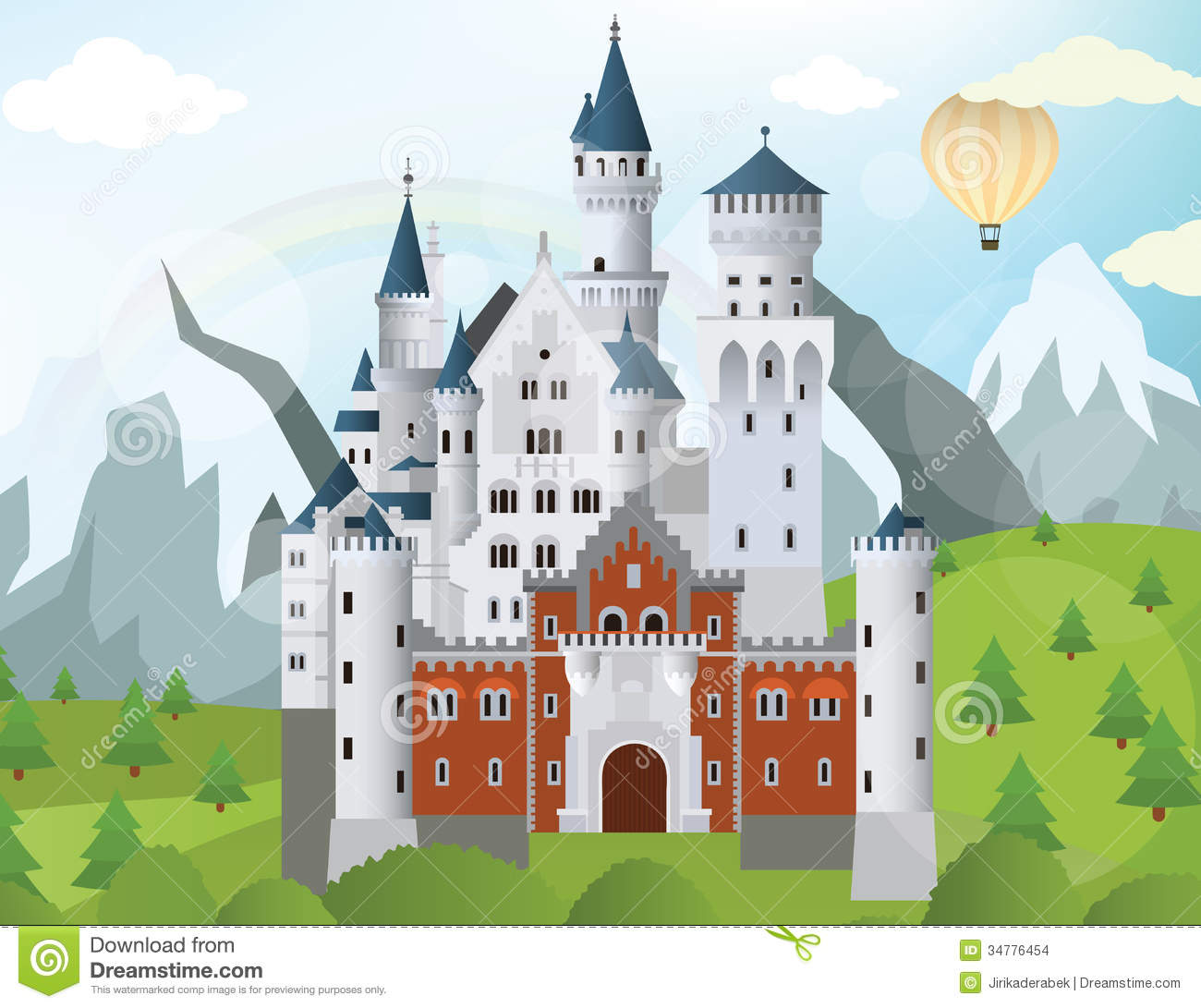 Vector illustration of fairytale castle in the mountains.