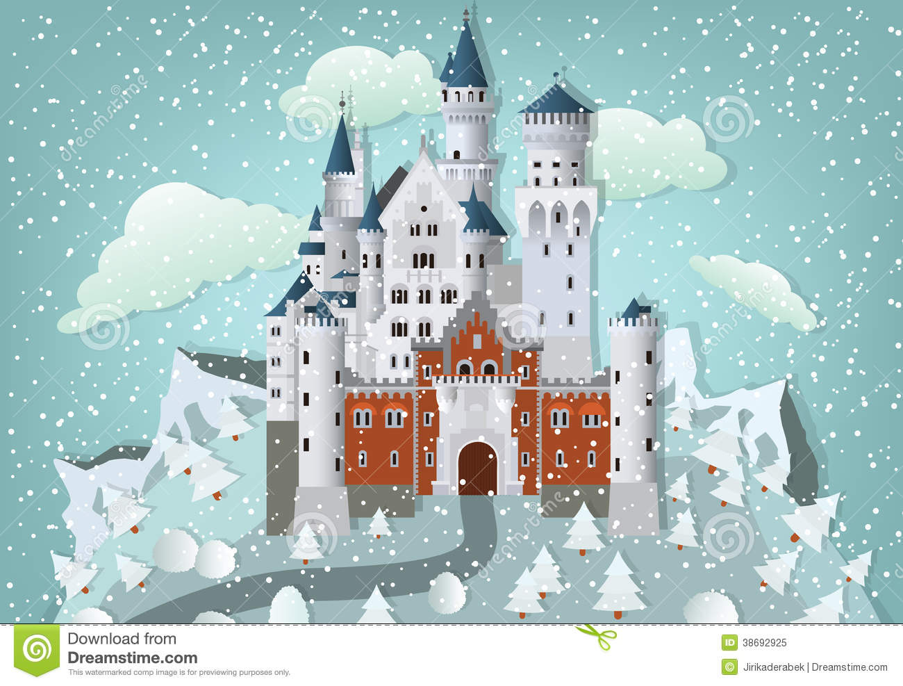 fairytale castle in winter royalty free stock photo. Black Bedroom Furniture Sets. Home Design Ideas
