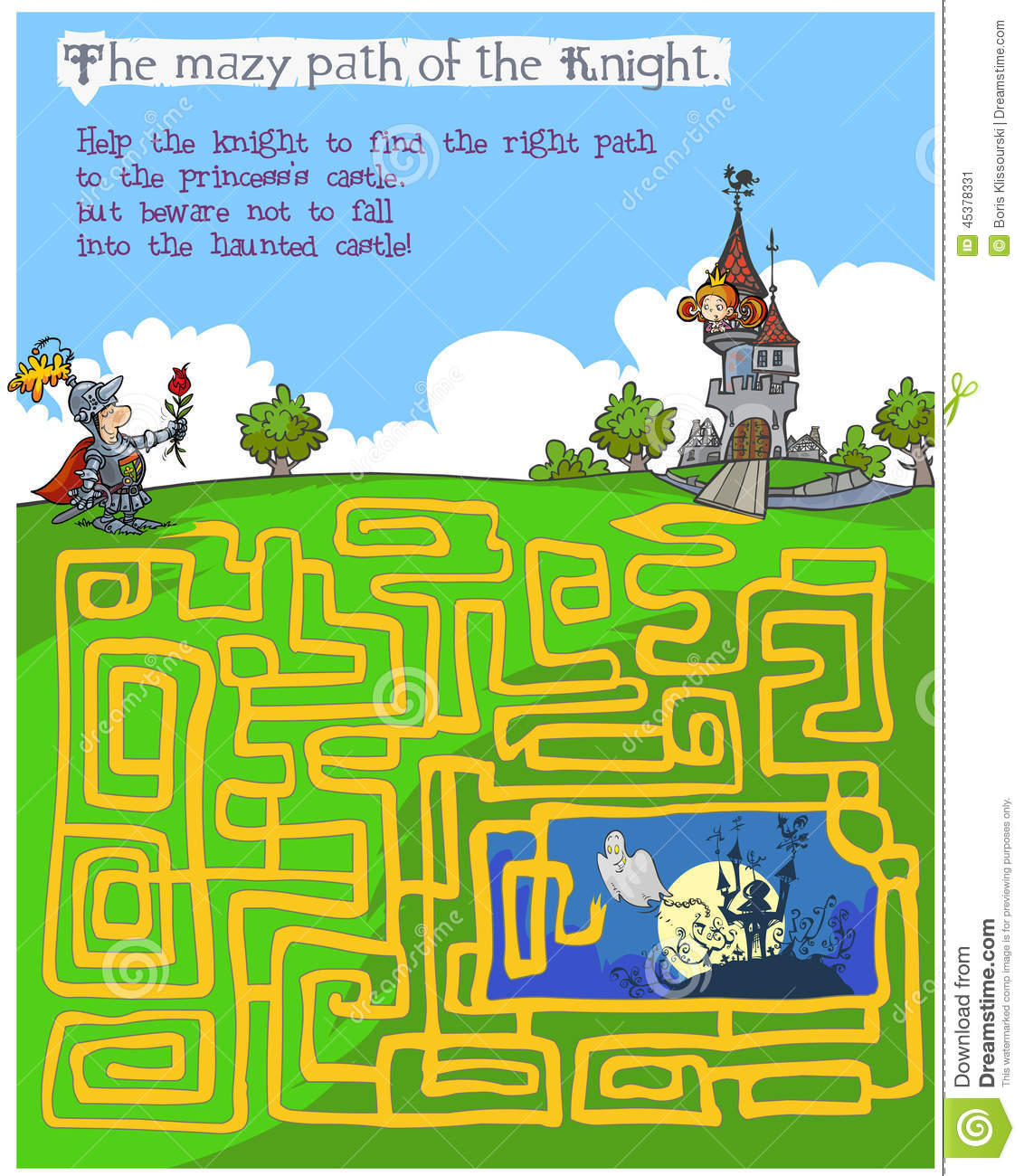 Fairytale children's Maze game with knight, princess and spooky castle ...