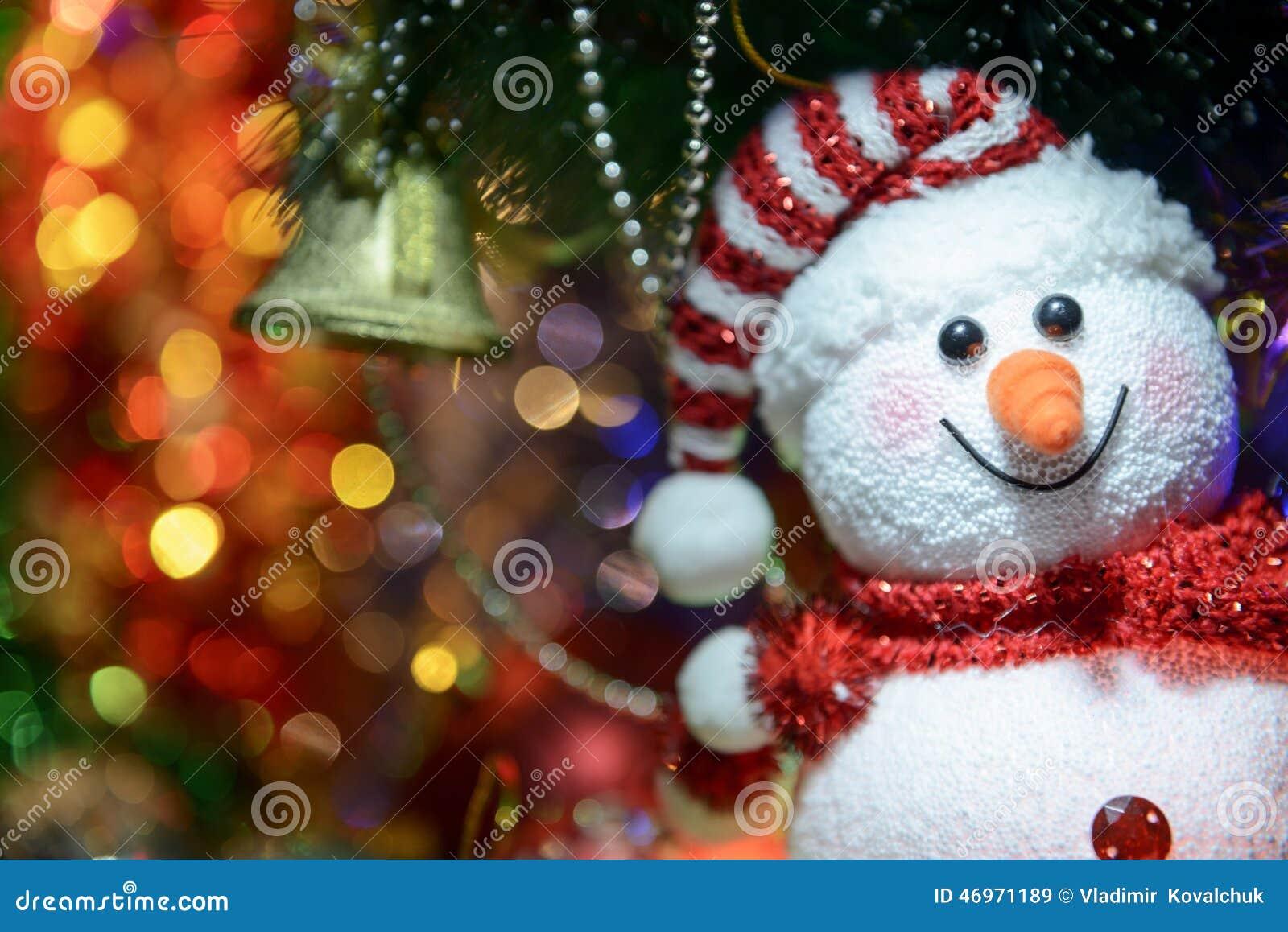 Fairytale Christmas Decorations.Fairytale Christmas Composition With Snowman And Christmas