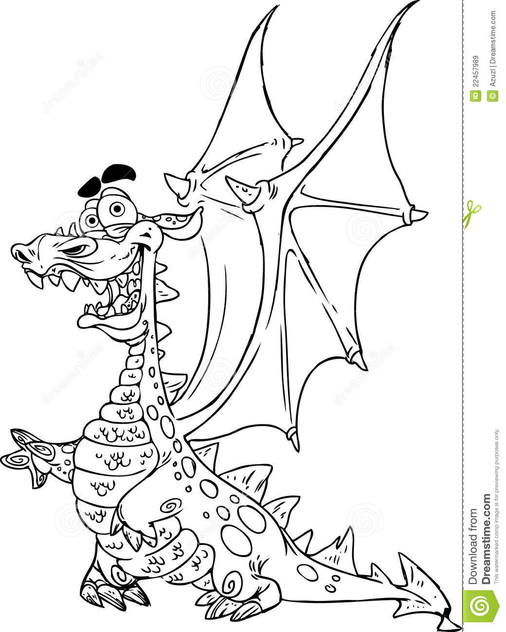 fairytale dragon black outline for coloring royalty free stock
