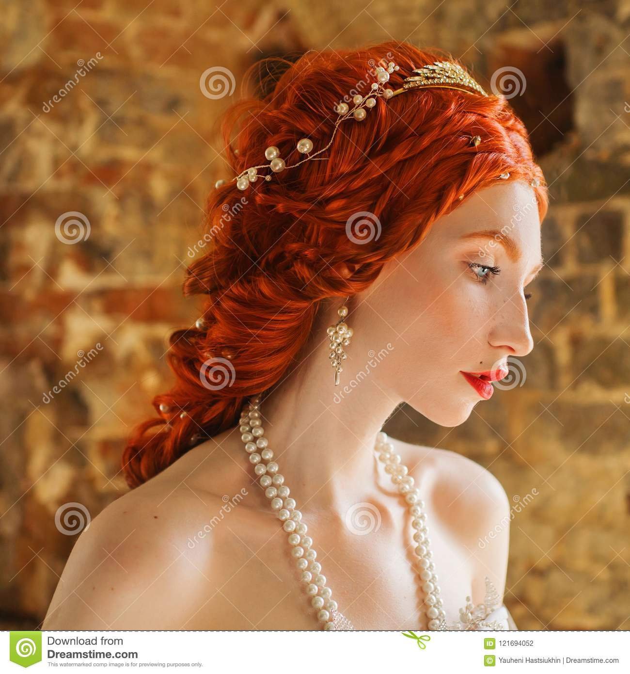 Fairytale Hero Renaissance Redhead Princess With Hairstyle In