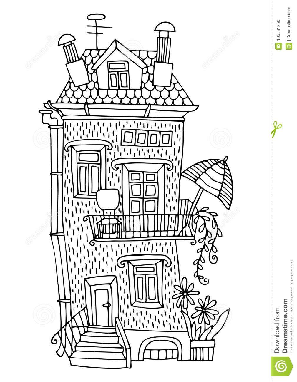 Fairytale House With A Terrace And Sunshade. Stock Vector ... on zentangle horse, zentangle sea, zentangle kindness, zentangle fancy letters, zentangle fire, zentangle birds, zentangle books, zentangle faces, zentangle leaves, zentangle fish, zentangle dragon, fairy pencil drawings of tree houses, zentangle easter, zentangle tree, valentine fairy houses, vintage fairy houses, zentangle fairies, zentangle dragonfly, zentangle art, steampunk fairy houses,