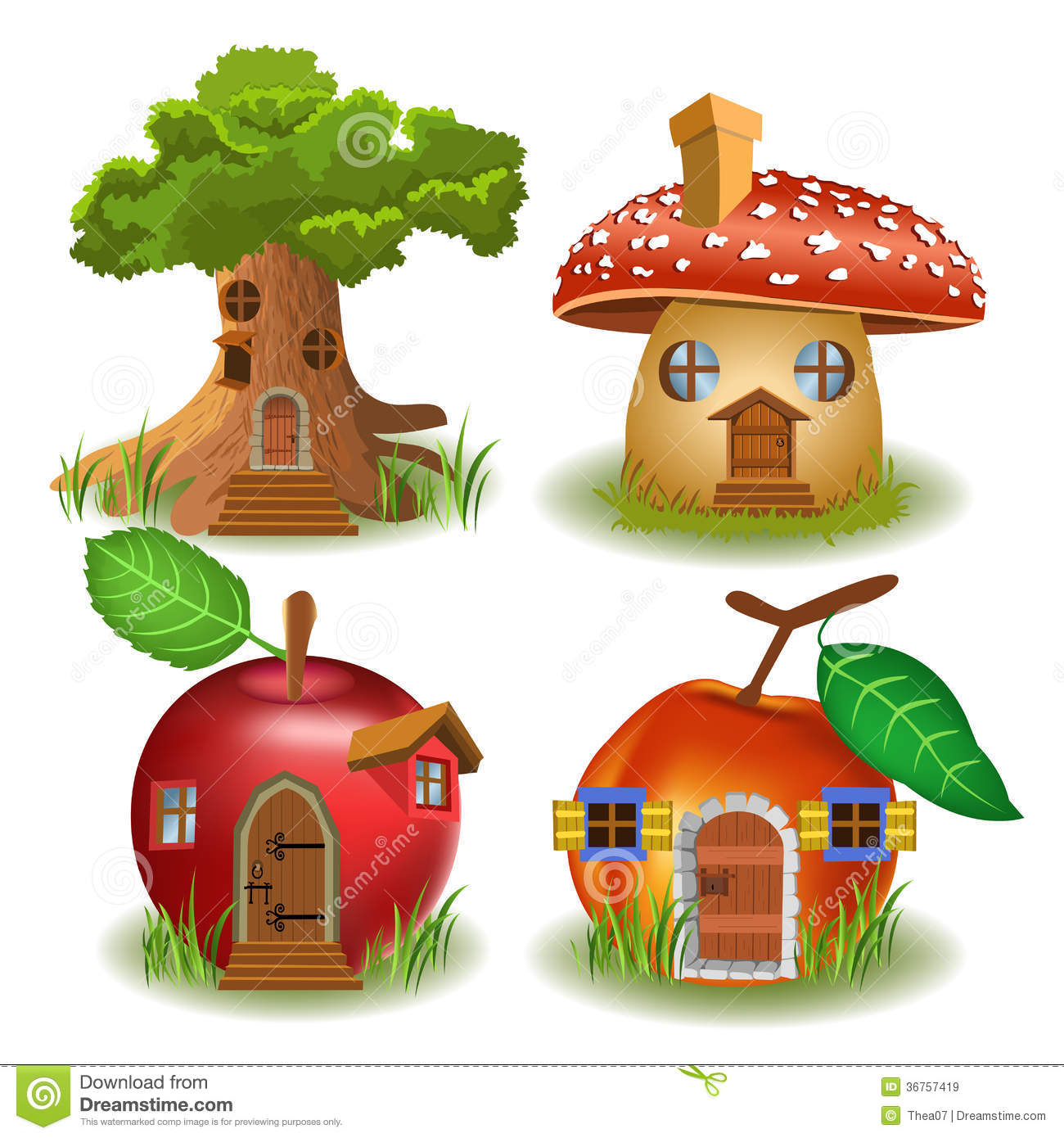 fairytale houses cartoon illustration tree house mushroom house apple house peach house isolated white background 36757419