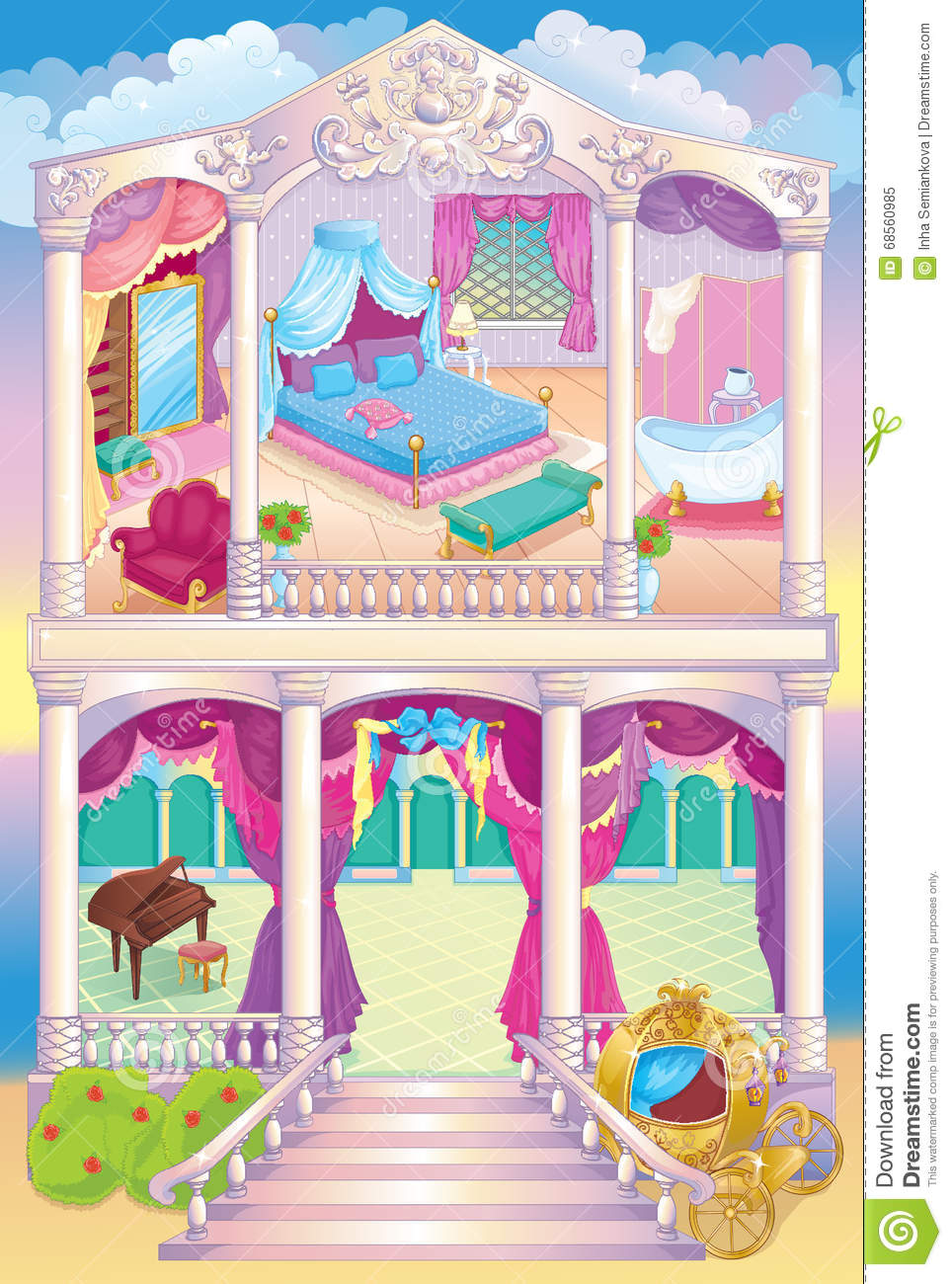 Fairytale luxury princess house stock vector for Princess housse