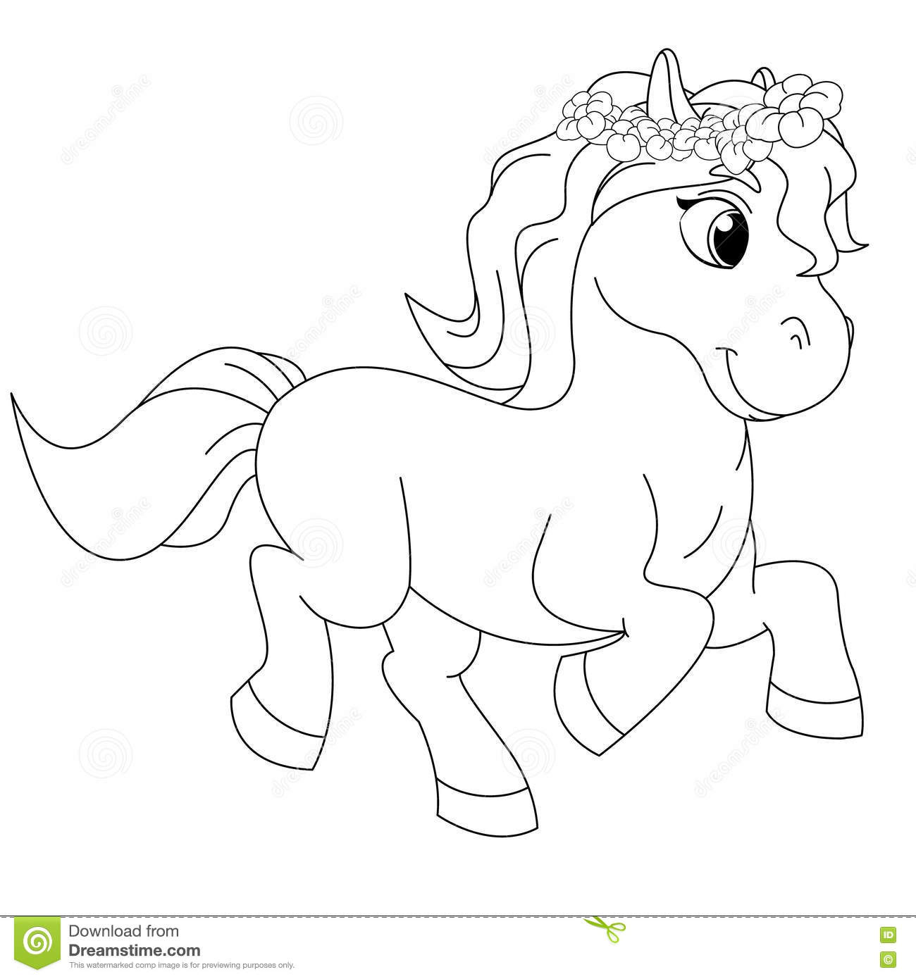 Fairytale pony coloring book page stock vector illustration of