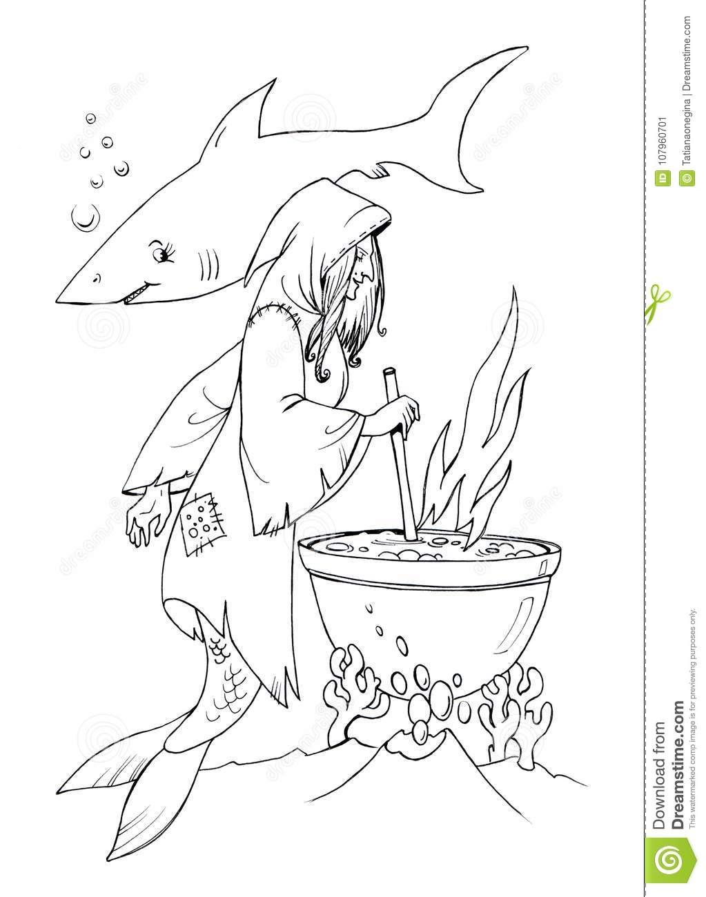 Fairytale Sea Mermaid Wich Coloring Page Stock Illustration ...