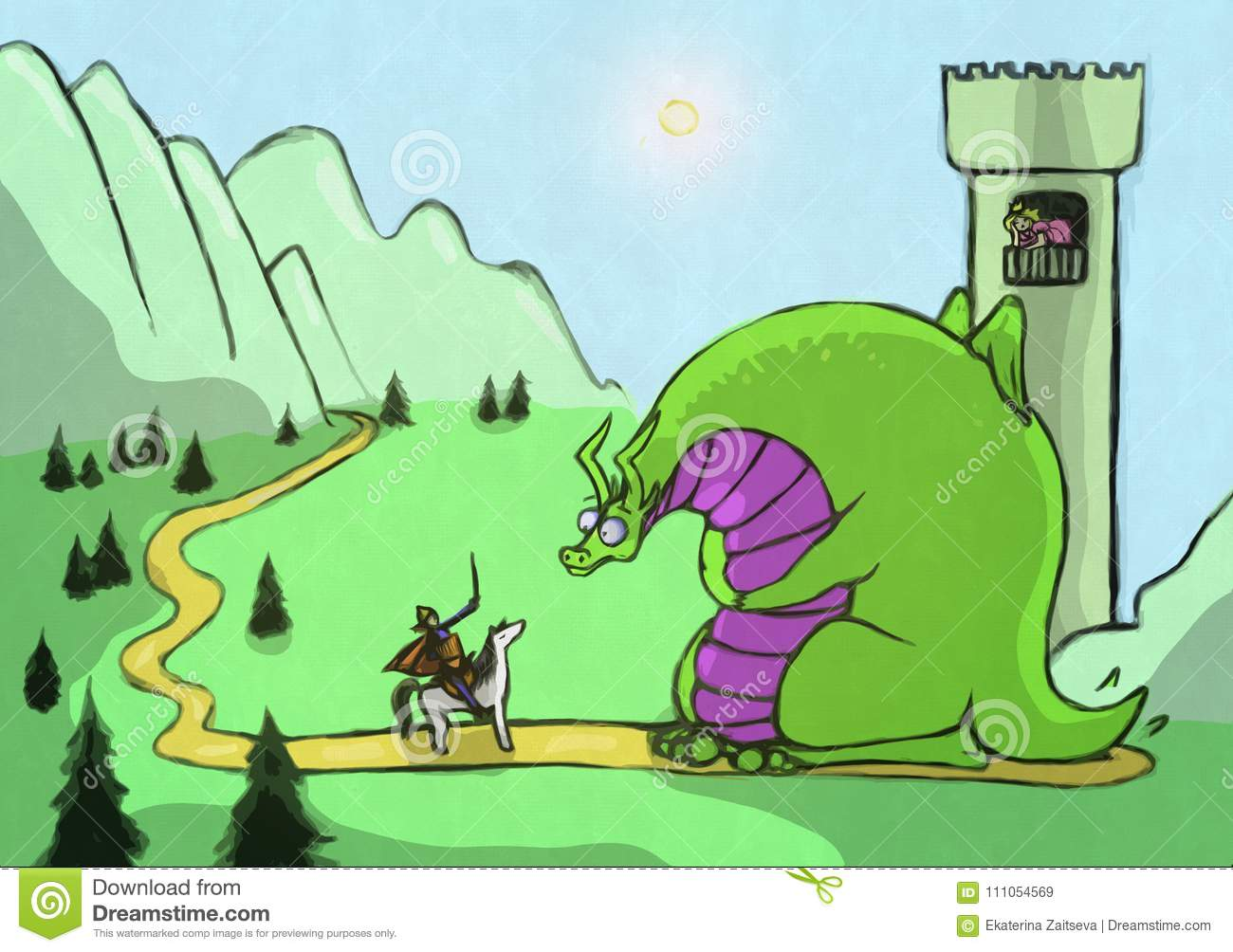 The Fairytale Story Illustration With The Green Dragon And