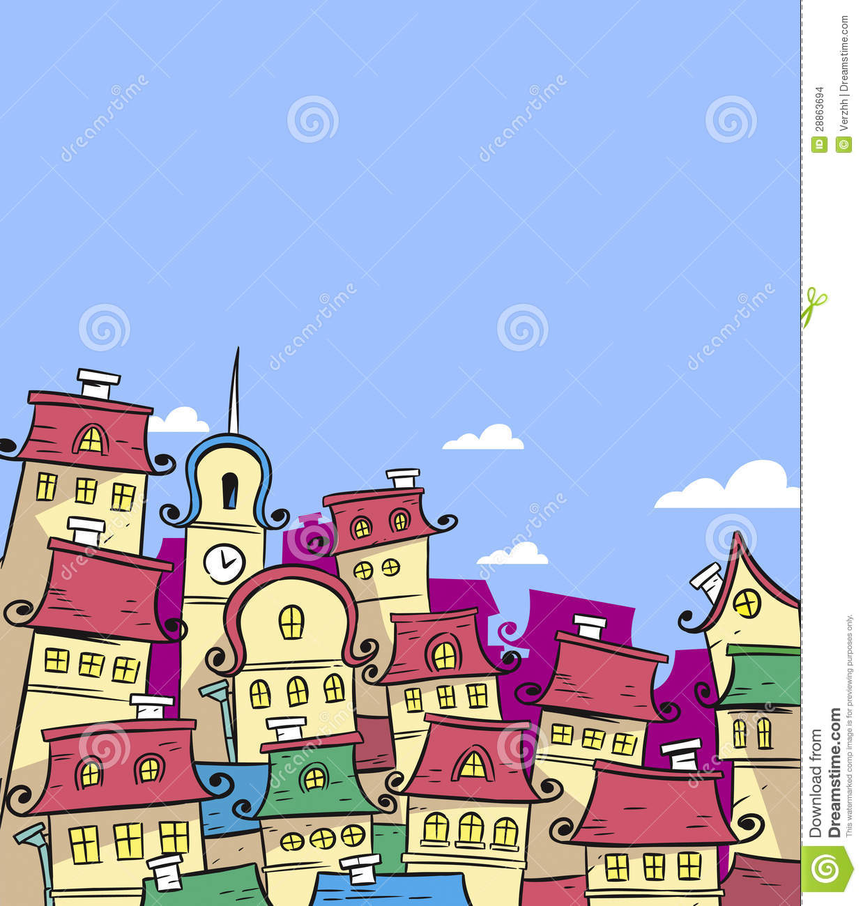 Fairytale Town Stock Vector. Illustration Of City, Tower