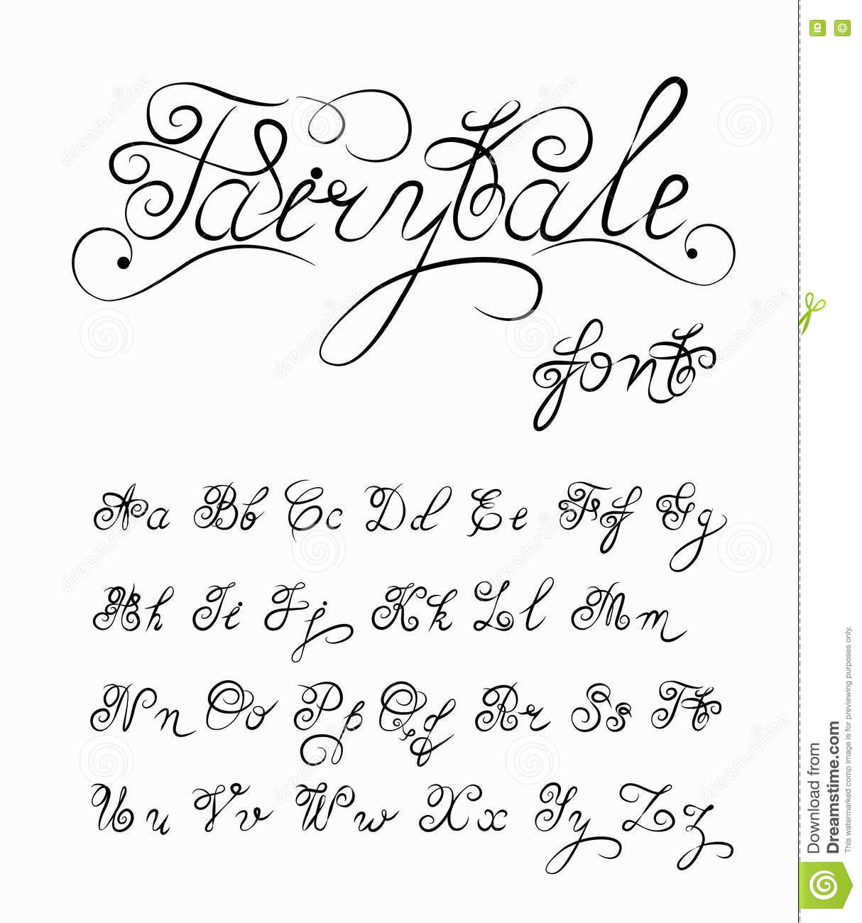 Fairytale Vector Hand Drawn Calligraphic Font Handmade