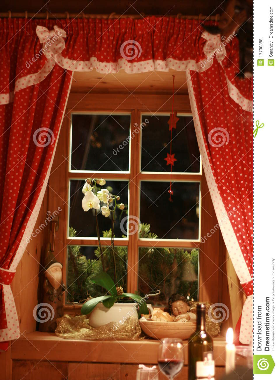 Fairytale Window With Red Curtains Royalty Free Stock