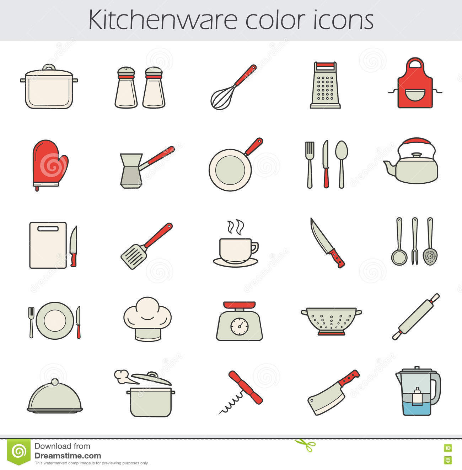Dream Kitchen Checklist: Faisant Cuire Des Icônes De Couleur D'instruments Réglées