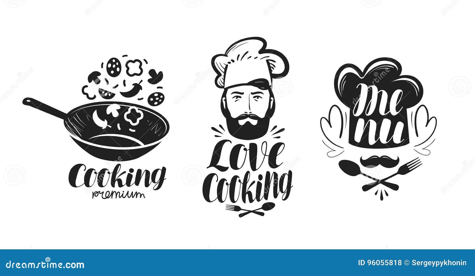 Faisant cuire, logo de cuisine Ensemble de label pour le restaurant ou le café de menu de conception Lettrage manuscrit, vecteur