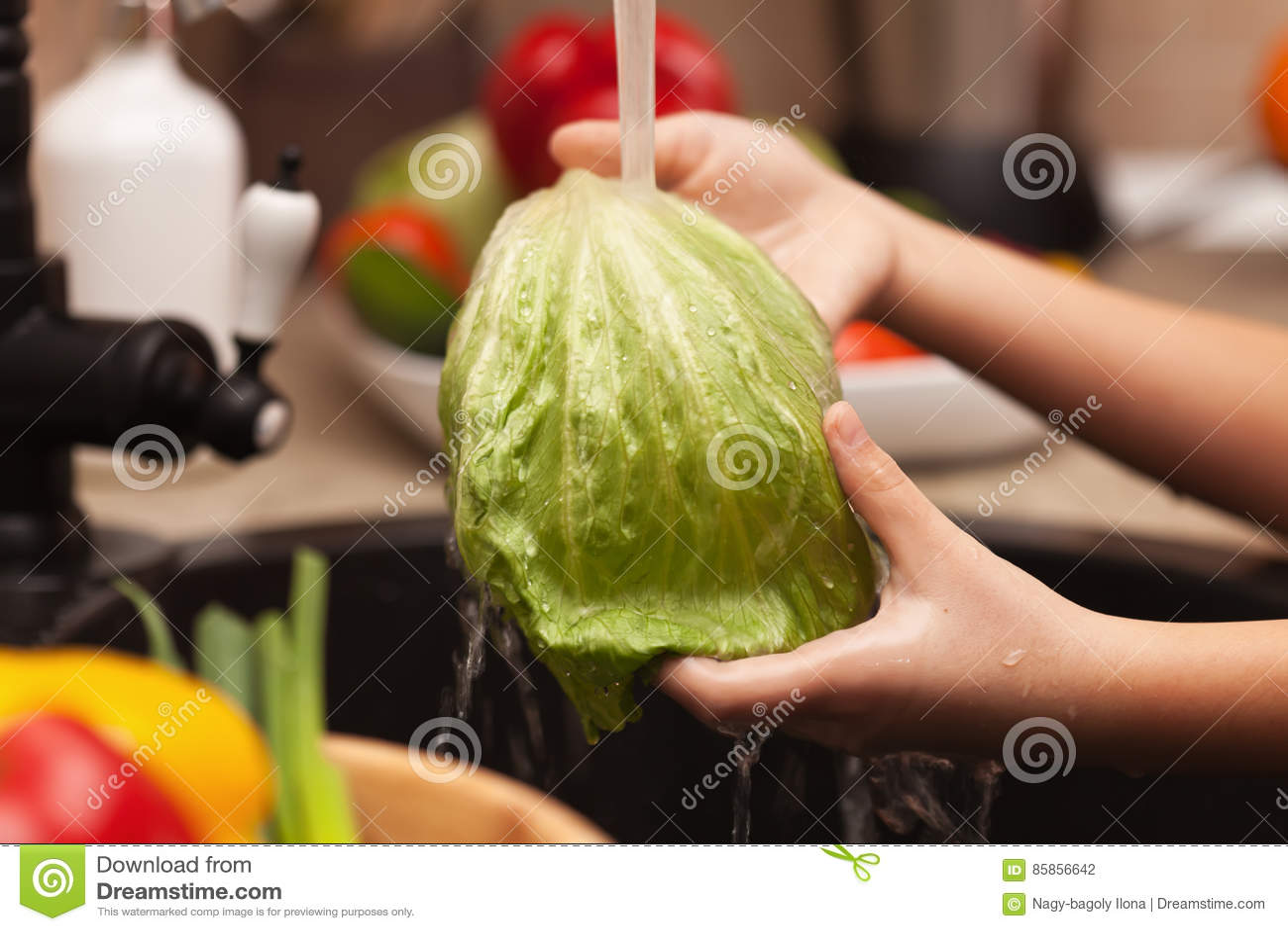 Faisant des légumes salade, ingrédients de lavage - la laitue part