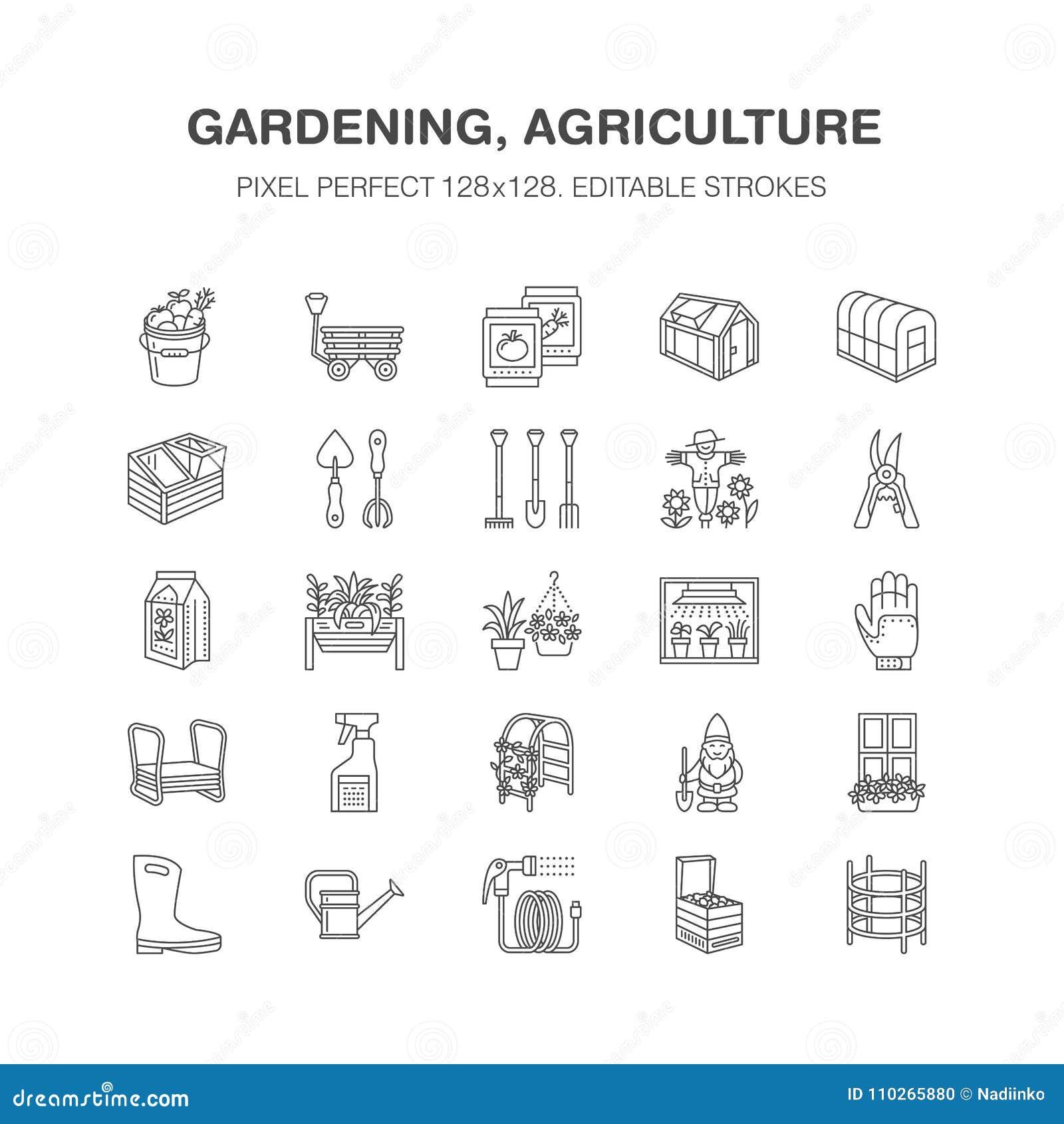Faisant du jardinage, plantant la ligne icônes d horticulture Équipement de jardin, graines organiques, engrais, serre chaude, pr