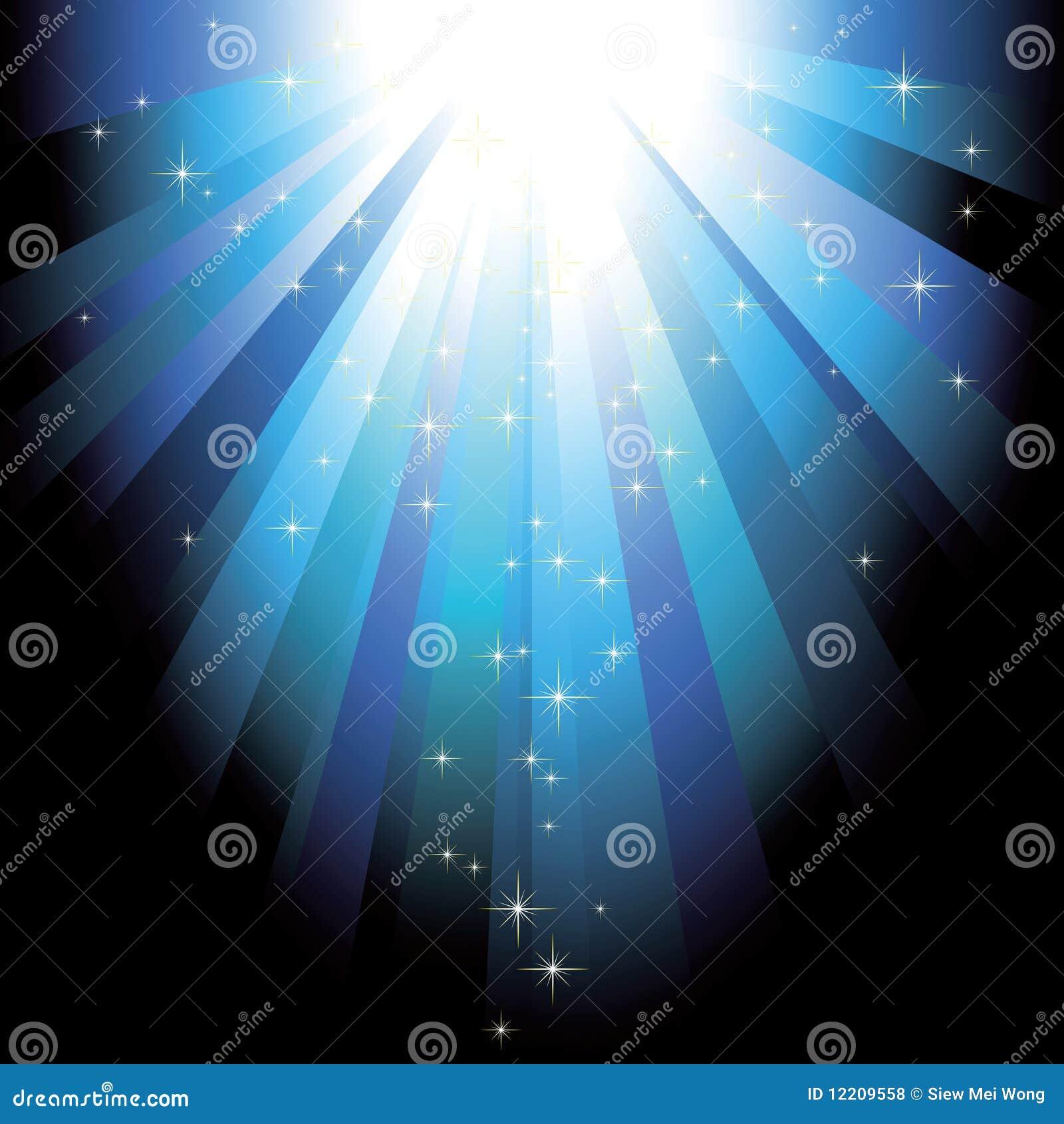 Faisceaux de lumière bleus avec des étoiles de scintillement