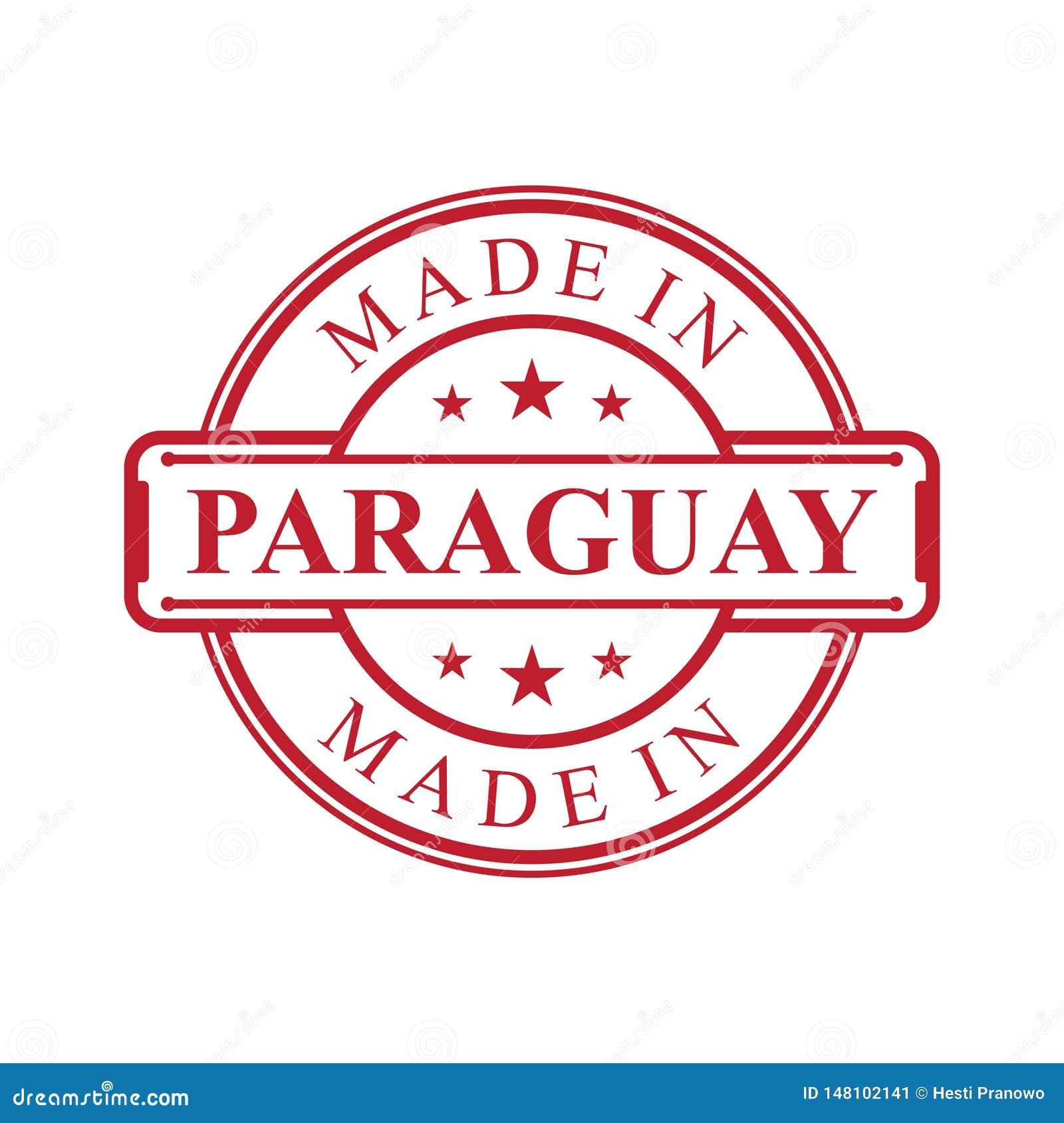 Fait dans l icône de label du Paraguay avec l emblème de couleur rouge sur le fond blanc ?l?ment de conception d embl?me de logo