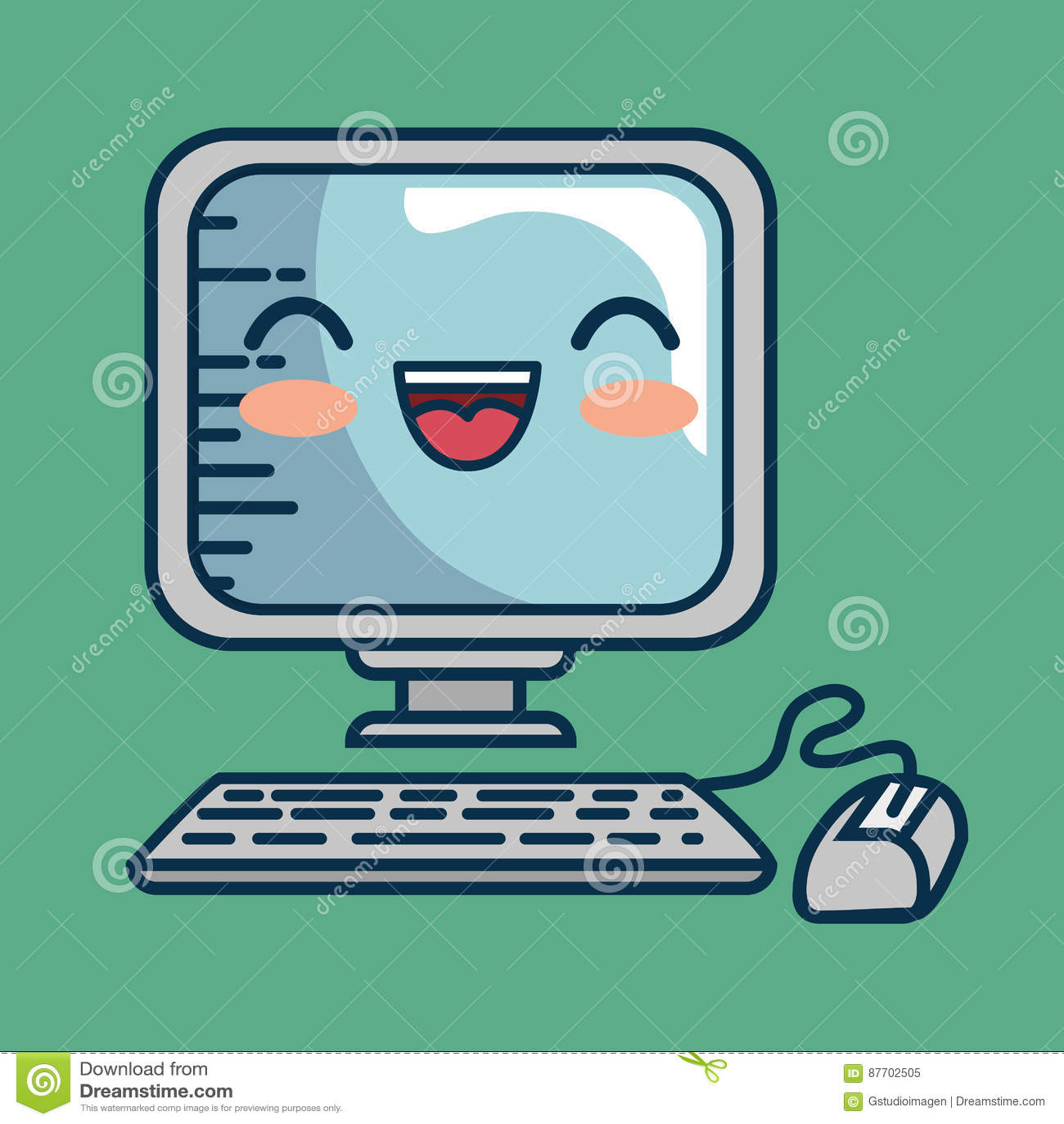 Fait main de bureau de caractère d ordinateur dessiné