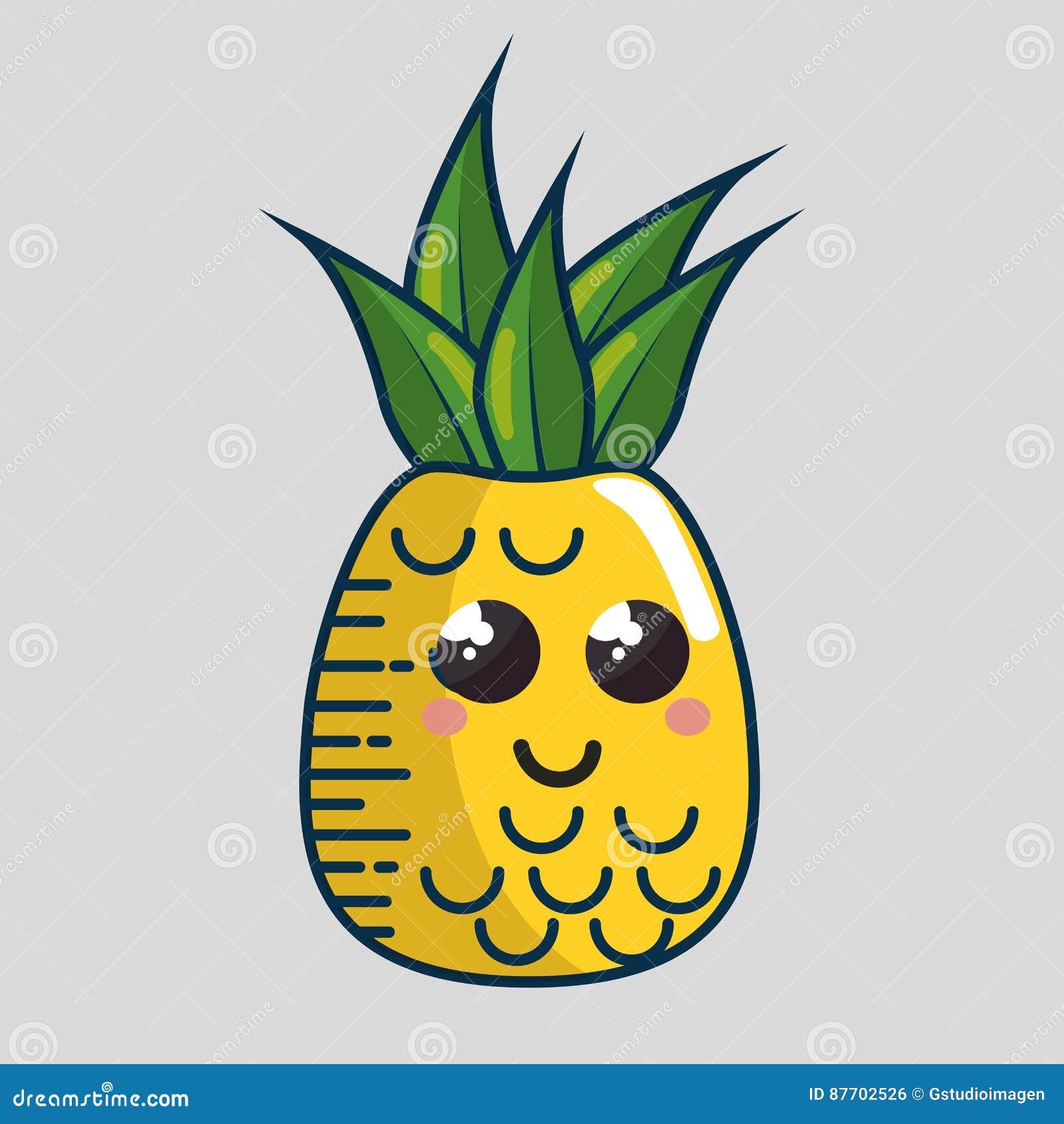 Fait main de caractère de fruit frais d ananas dessiné