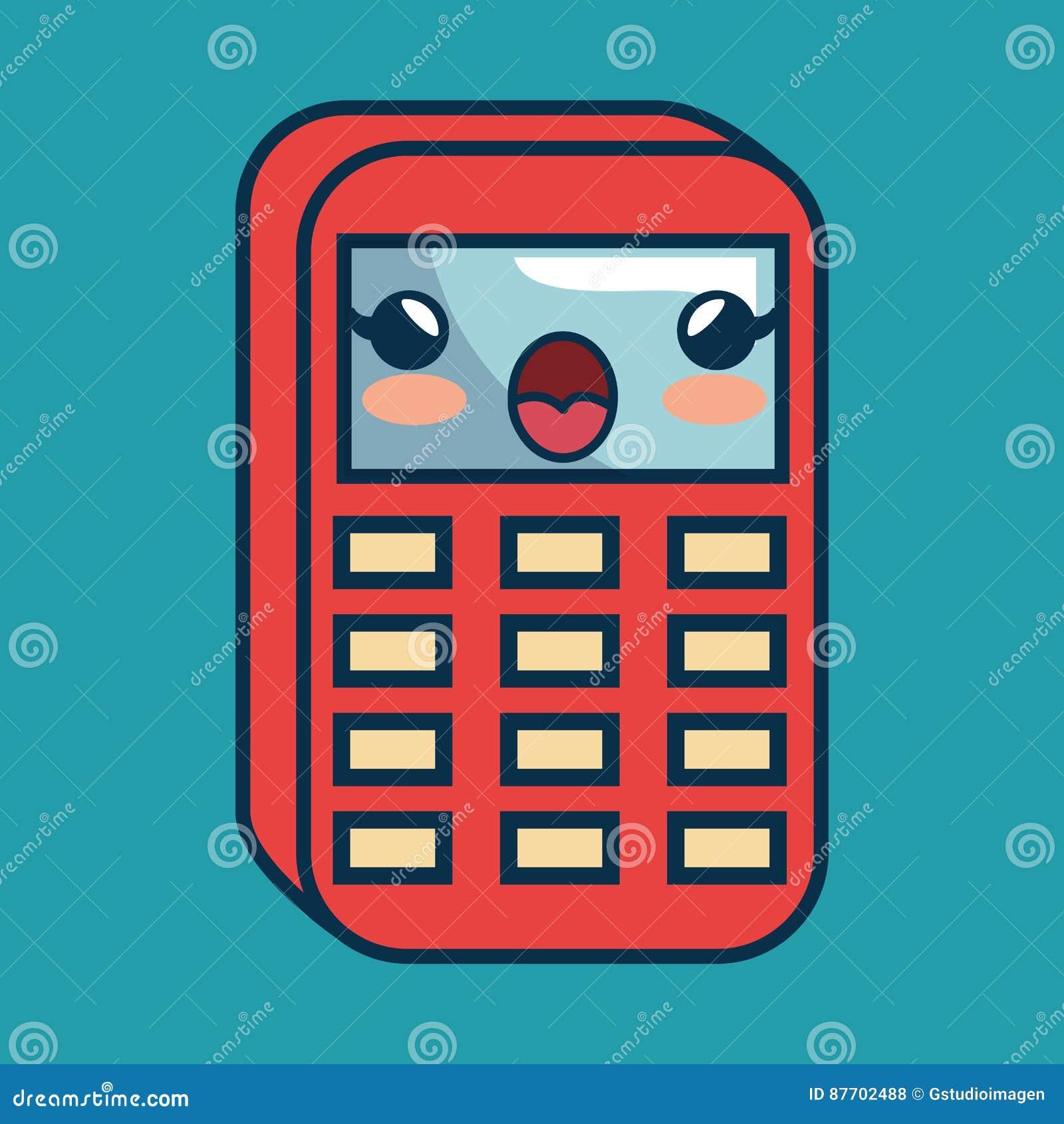 Fait main de caractère de maths de calculatrice dessiné