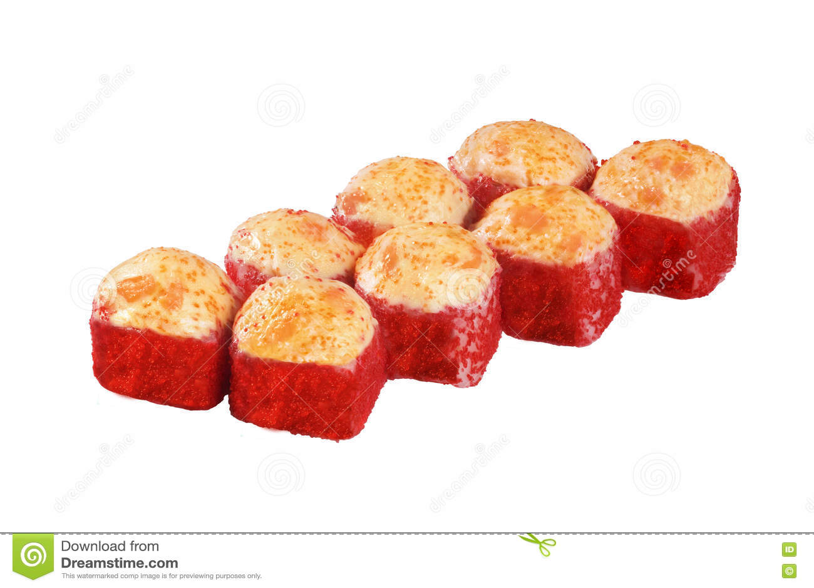 Faite cuire au four chaude, chapeau, petit pain de sushi rouge de Masago de caviar d isolement sur le fond blanc