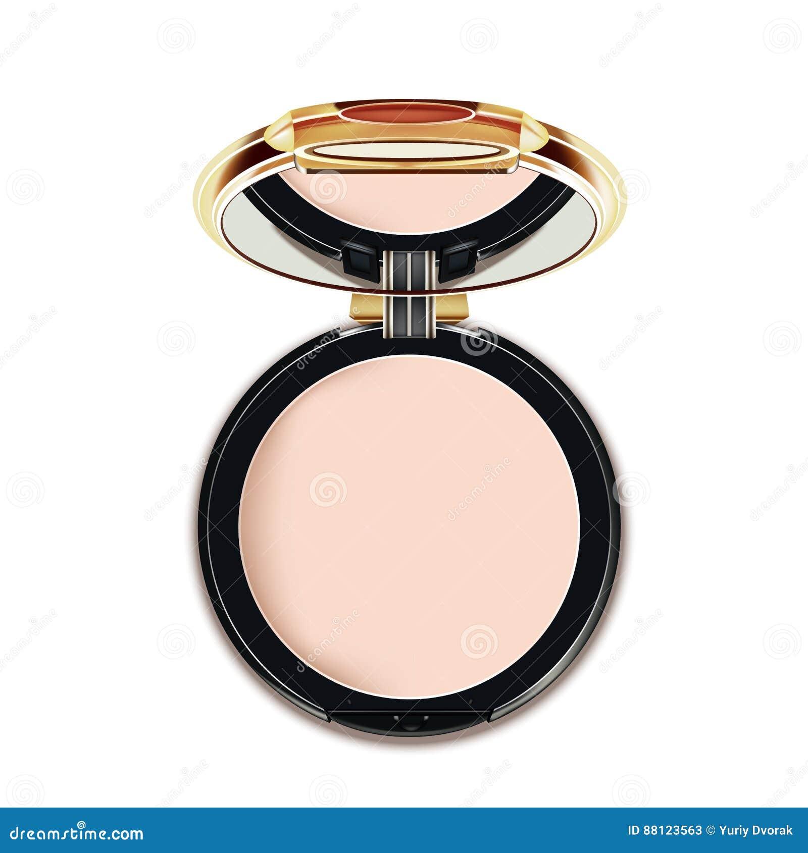 Faites face à la poudre cosmétique de maquillage dans le noir et à la caisse d or avec la vue supérieure de miroir sur le fond bl