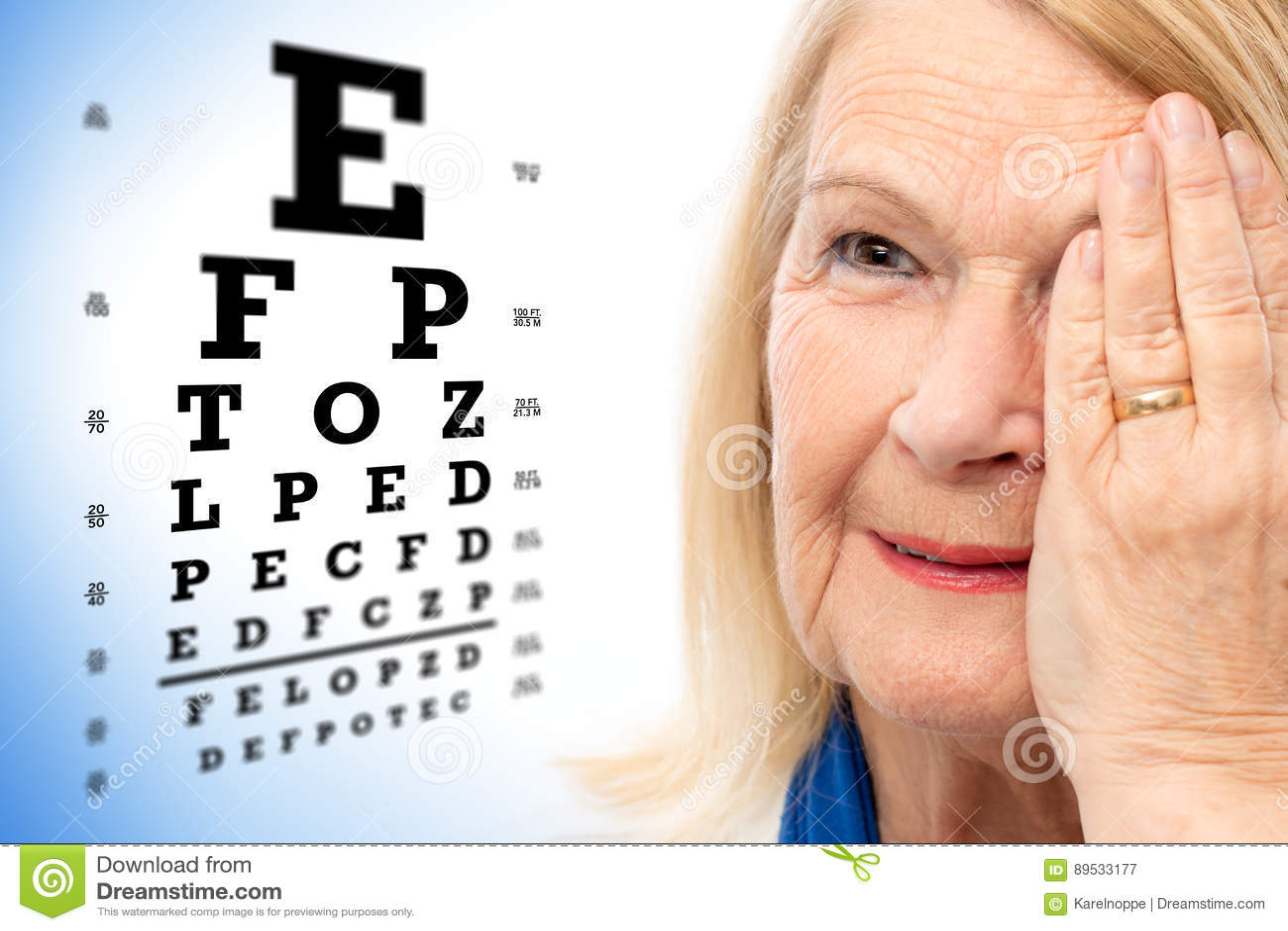 Faites face au tir de la femme supérieure avec le diagramme d essai de vision