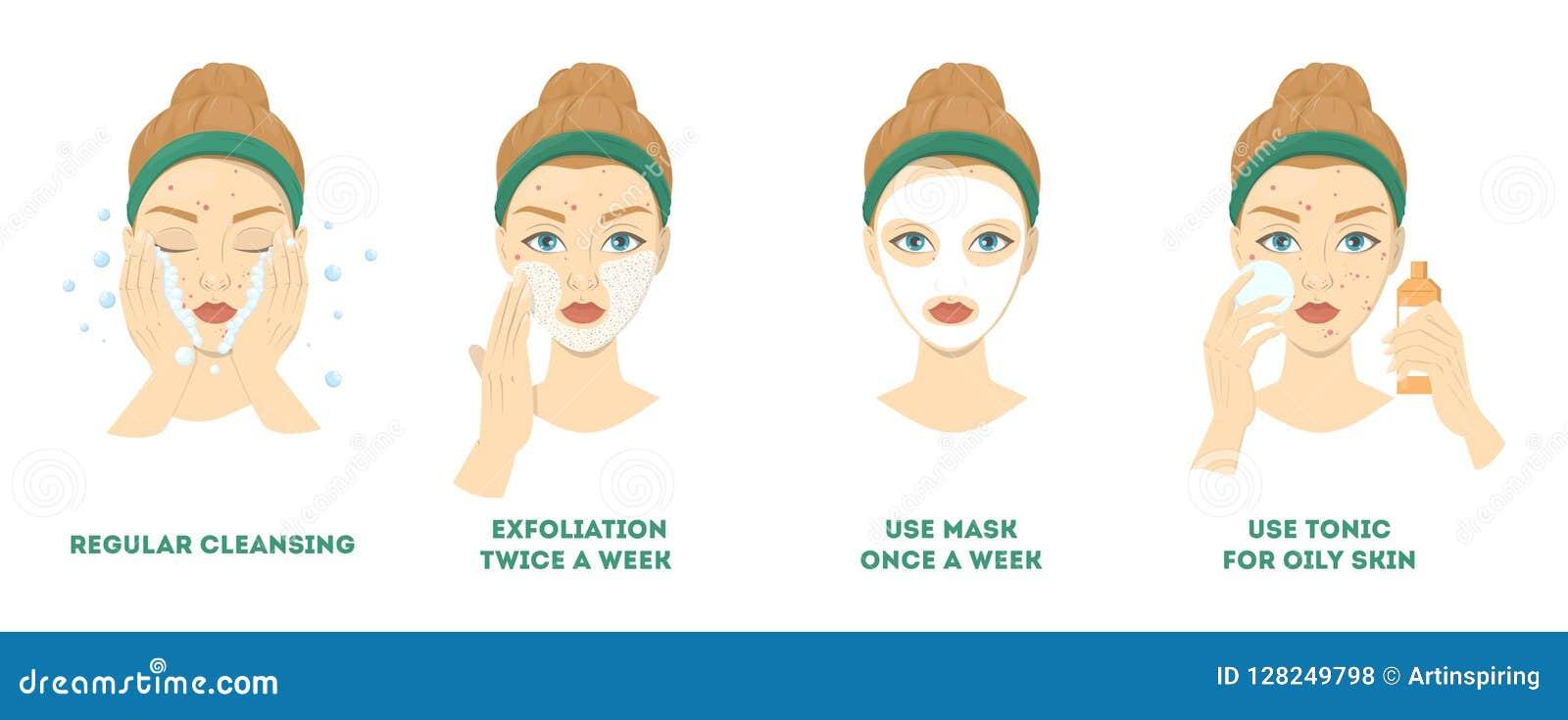 Faites face aux étapes de nettoyage et de soin pour le traitement d acné