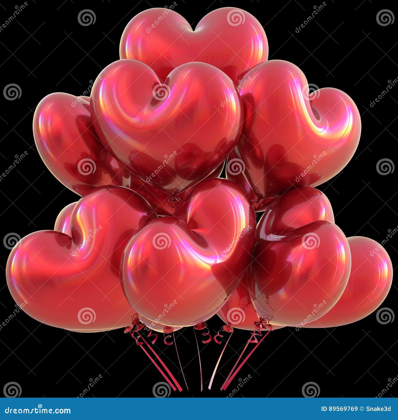 Faites La Fete La Decoration Rouge D Evenement D Amour De Joyeux Anniversaire De Ballons De Coeur Illustration Stock Illustration Du Decoration Coeur 89569769